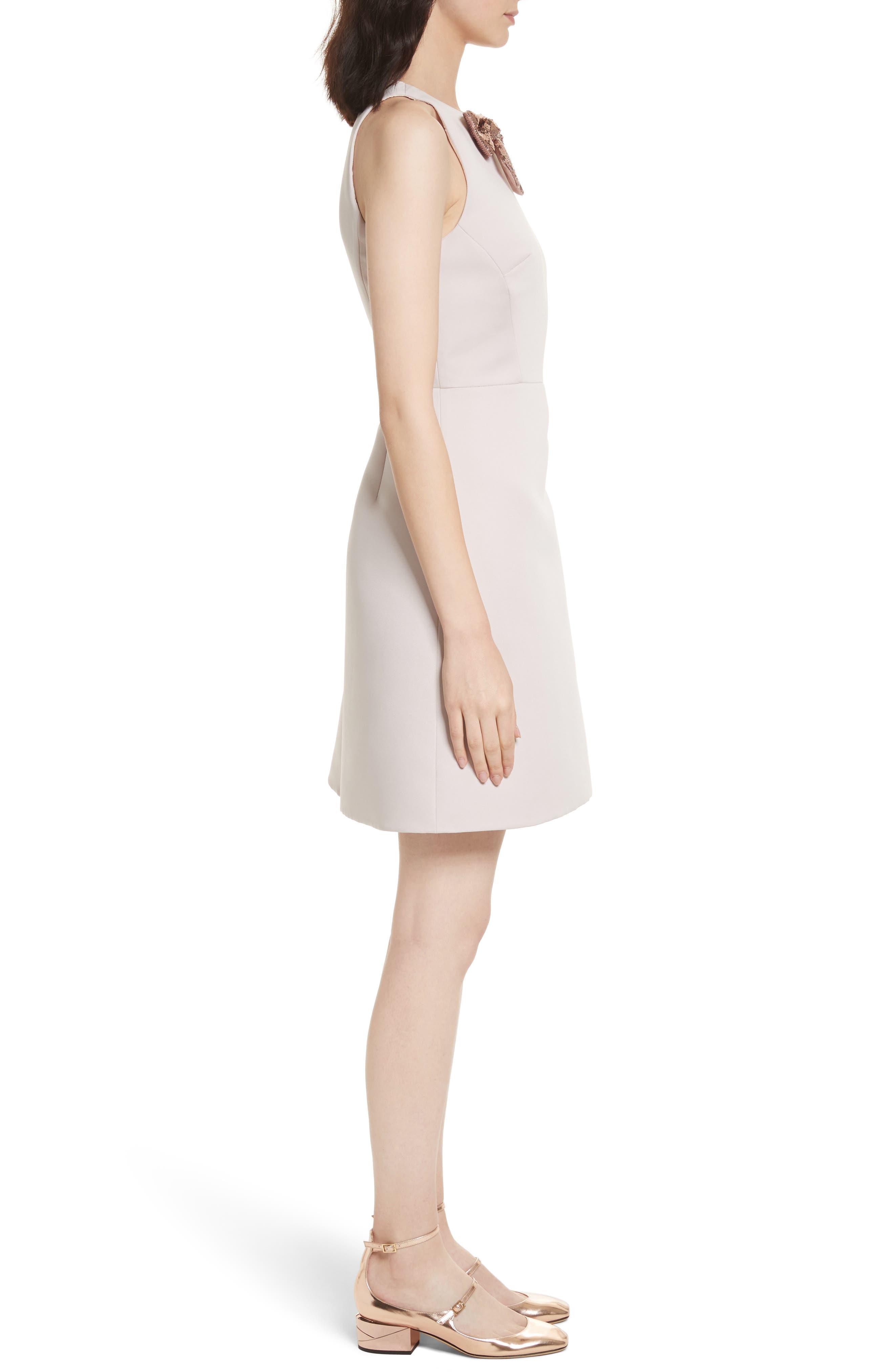 sequin bow A-line dress,                             Alternate thumbnail 3, color,                             672