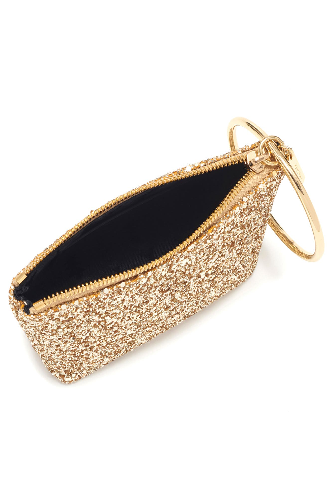 Small Ring Leather Pouch,                             Alternate thumbnail 3, color,                             GOLD GLITTER