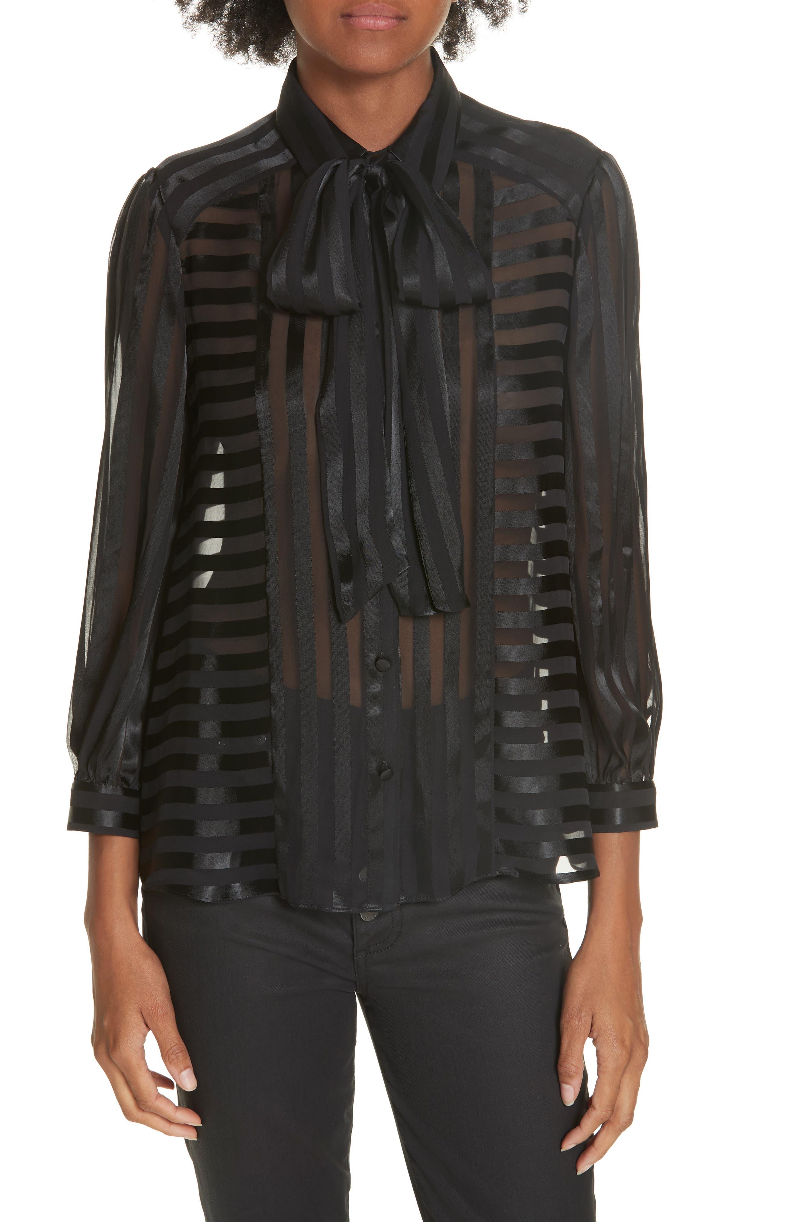 Tie Neck Shadow Stripe Blouse,                         Main,                         color, SHADOW STRIPE BLACK
