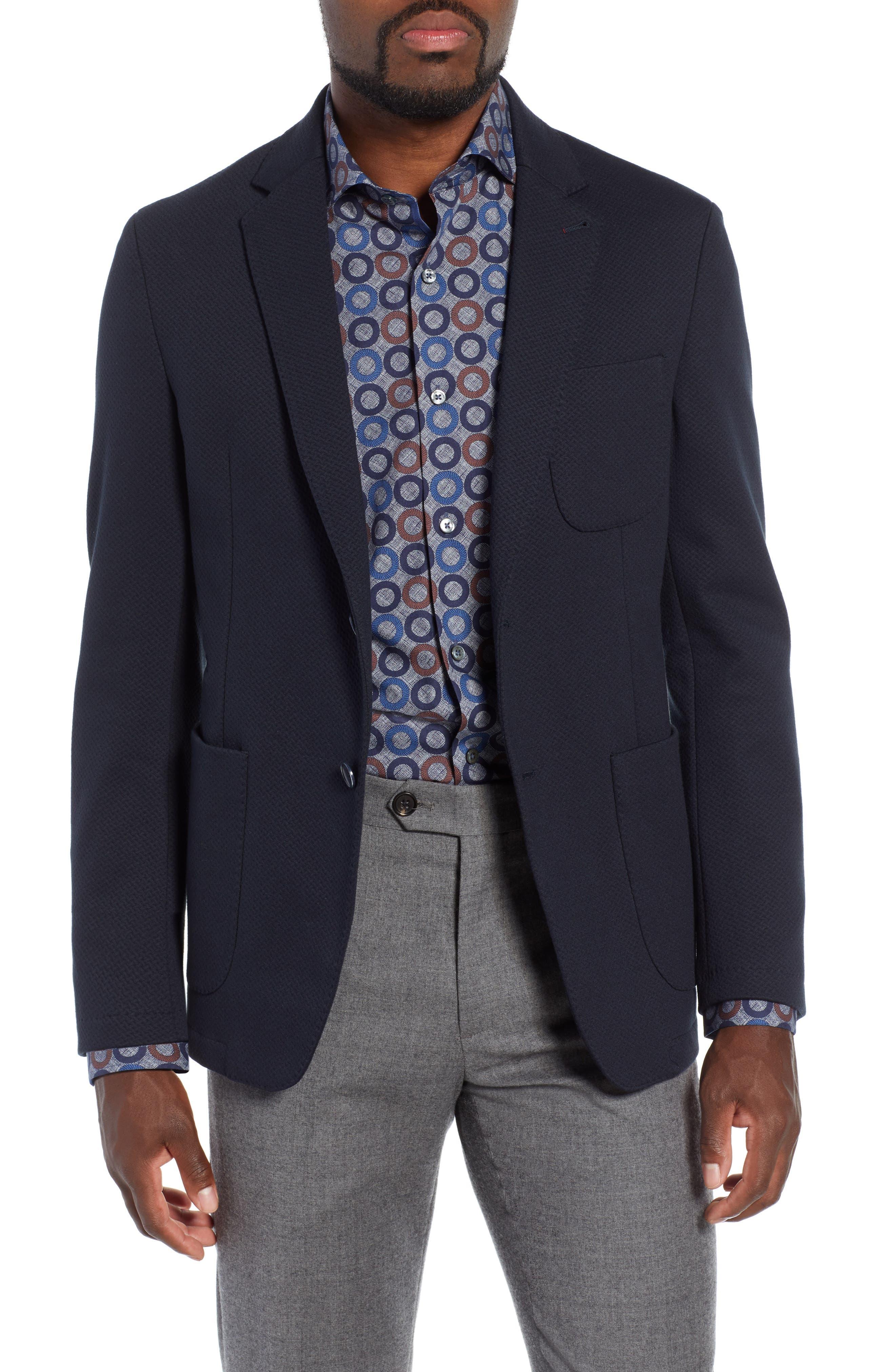 Stretch Cotton Blazer,                         Main,                         color, MIDNIGHT