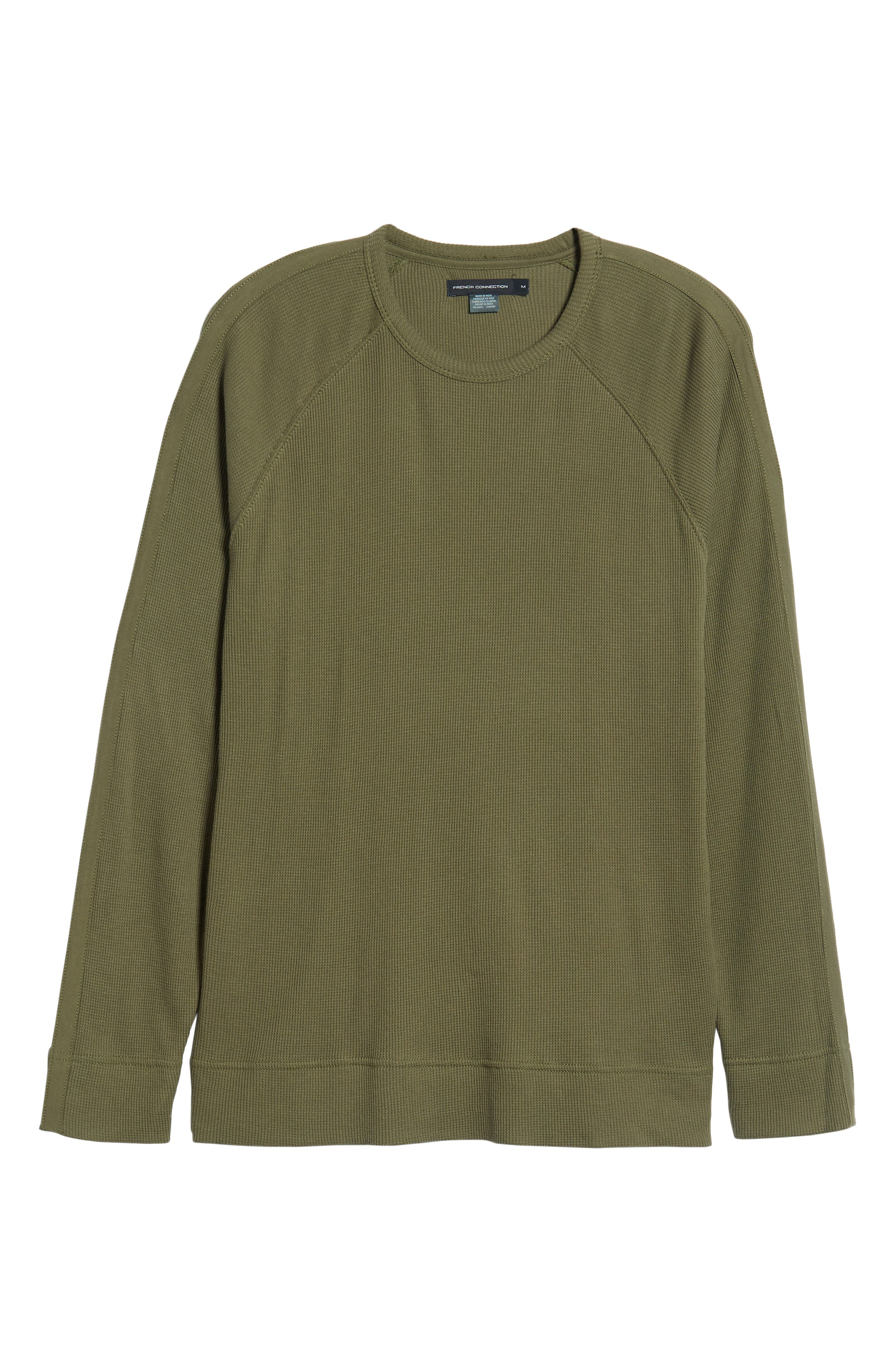 Waffle Knit Pullover,                             Alternate thumbnail 6, color,                             INFANTRY GREEN