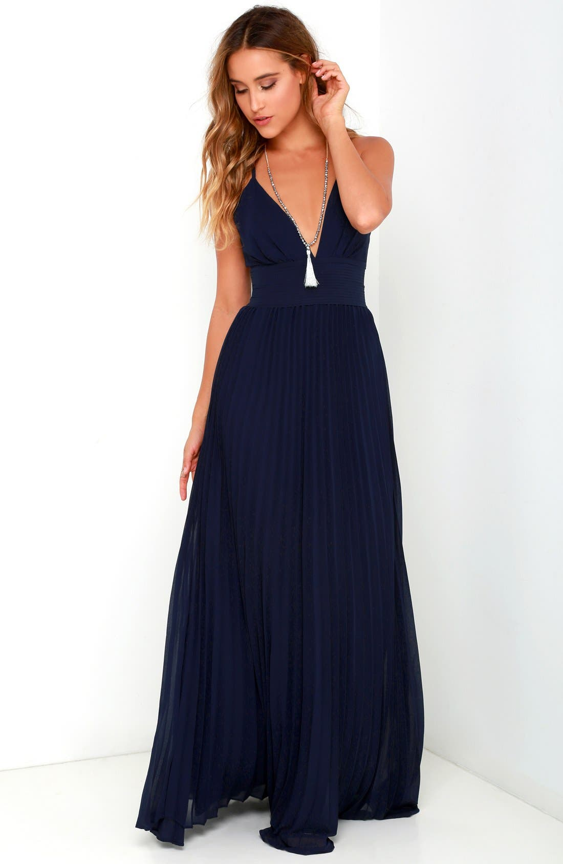 Plunging V-Neck Pleat Georgette Gown,                             Alternate thumbnail 5, color,                             400