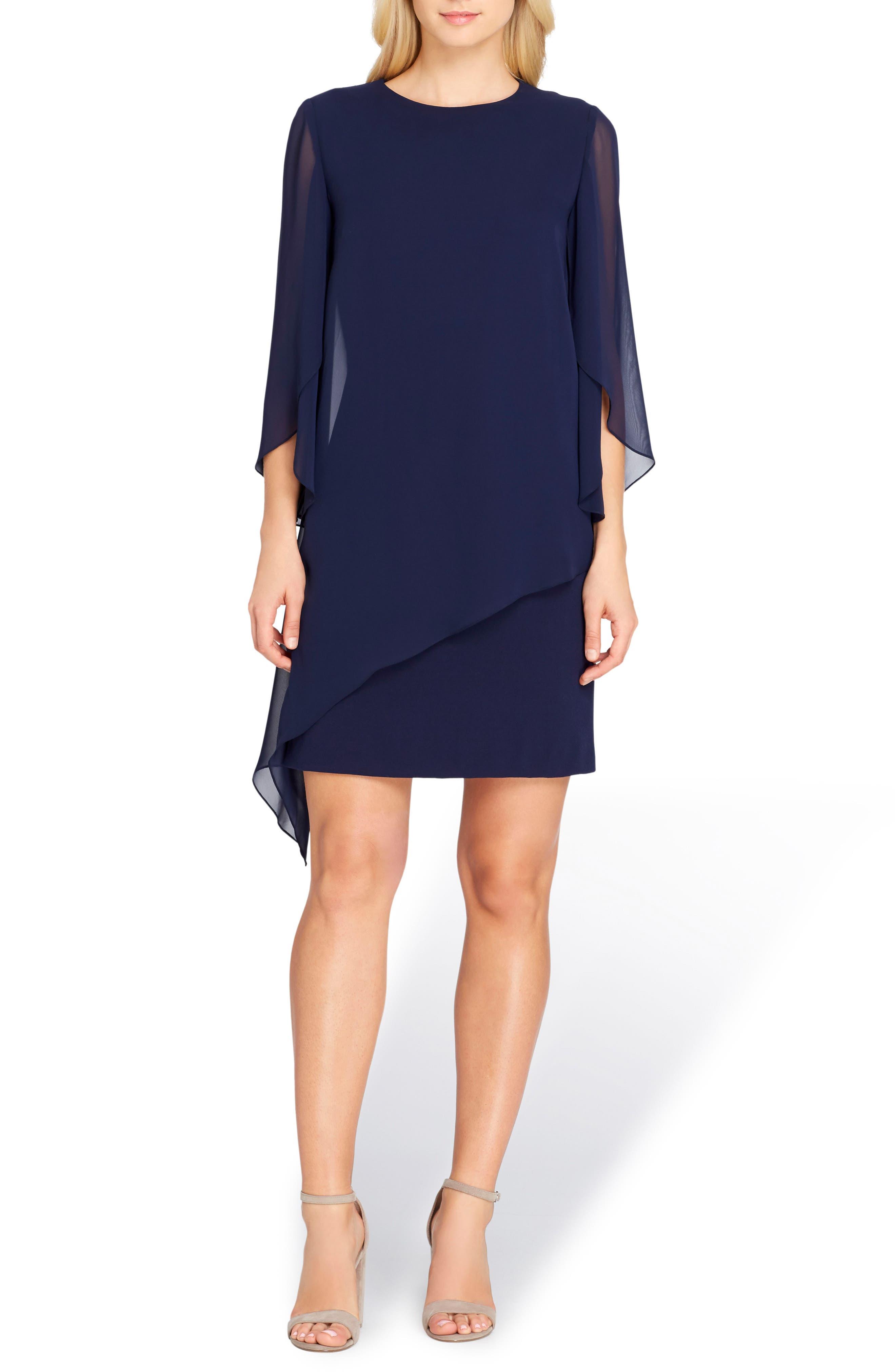 Chiffon Overlay Shift Dress,                         Main,                         color, 412