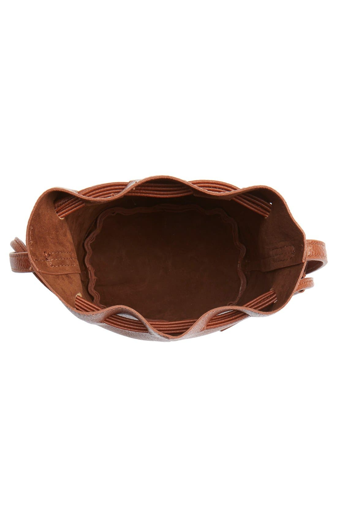 Mini Faux Leather Tassel Bucket Bag,                             Alternate thumbnail 13, color,