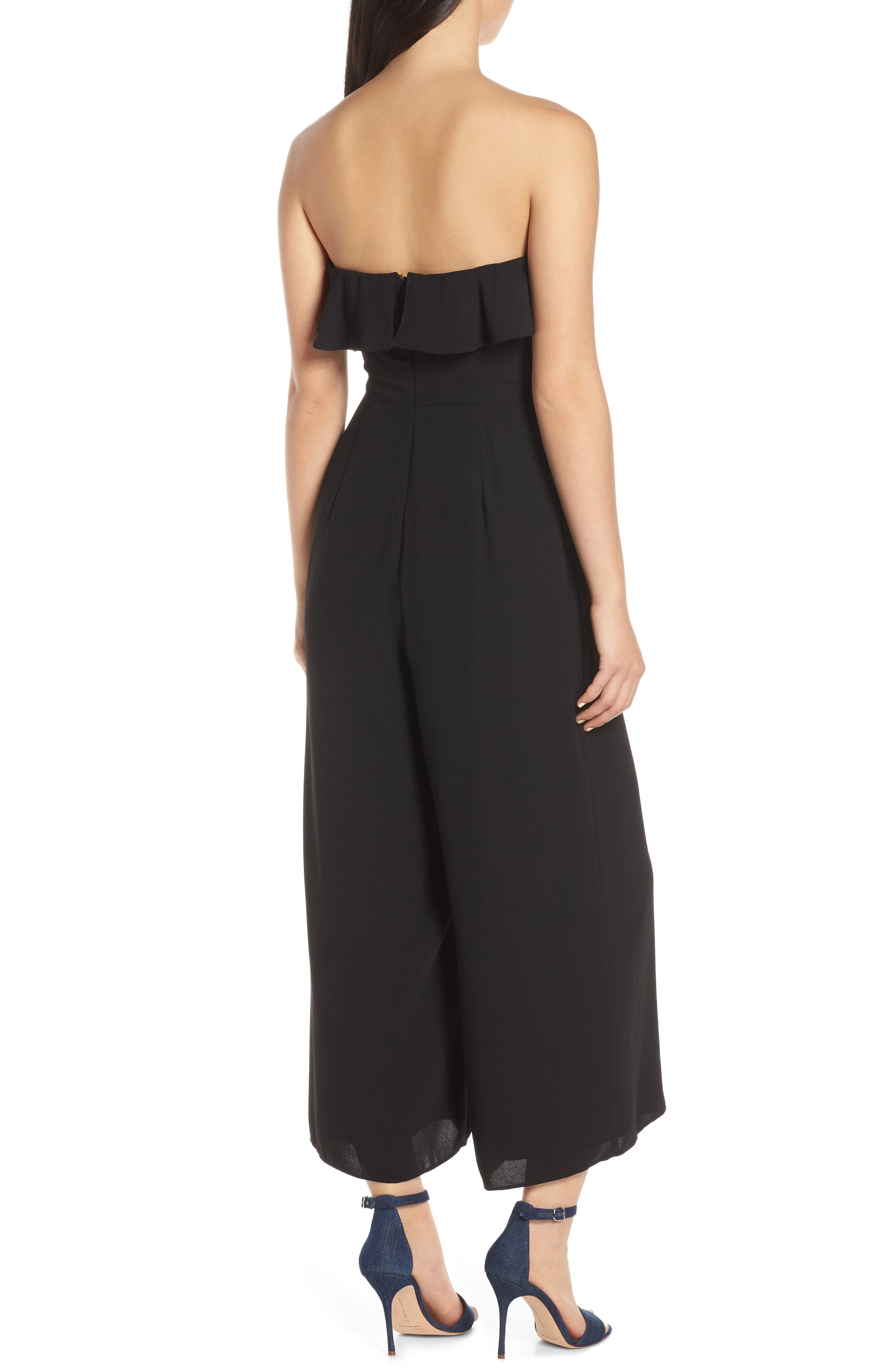 CHELSEA28,                             Strapless Ruffle Front Jumpsuit,                             Alternate thumbnail 2, color,                             BLACK