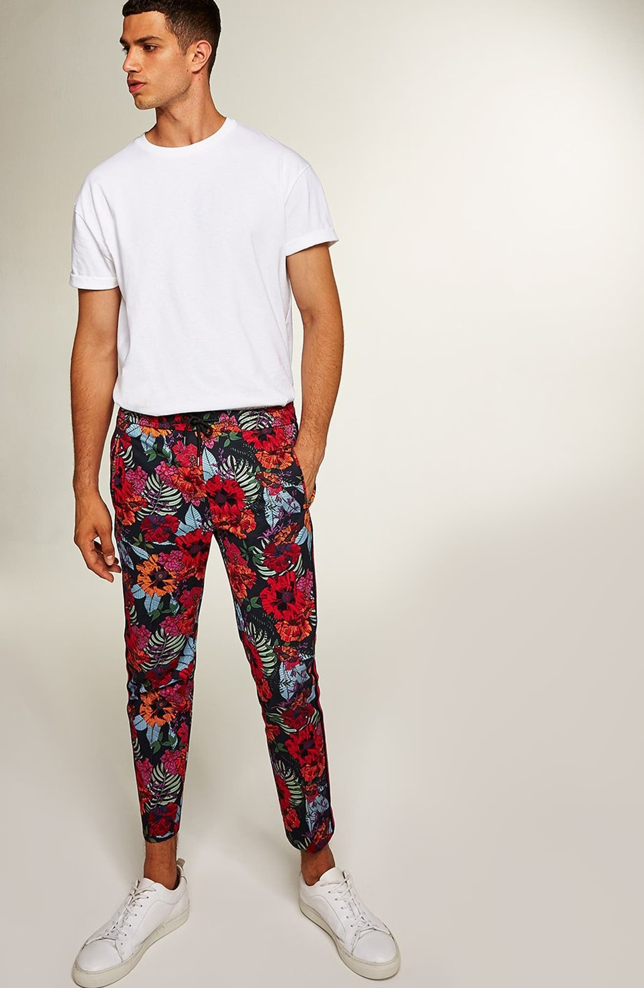 Topshop Floral Jogger Pants,                             Alternate thumbnail 5, color,                             RED MULTI