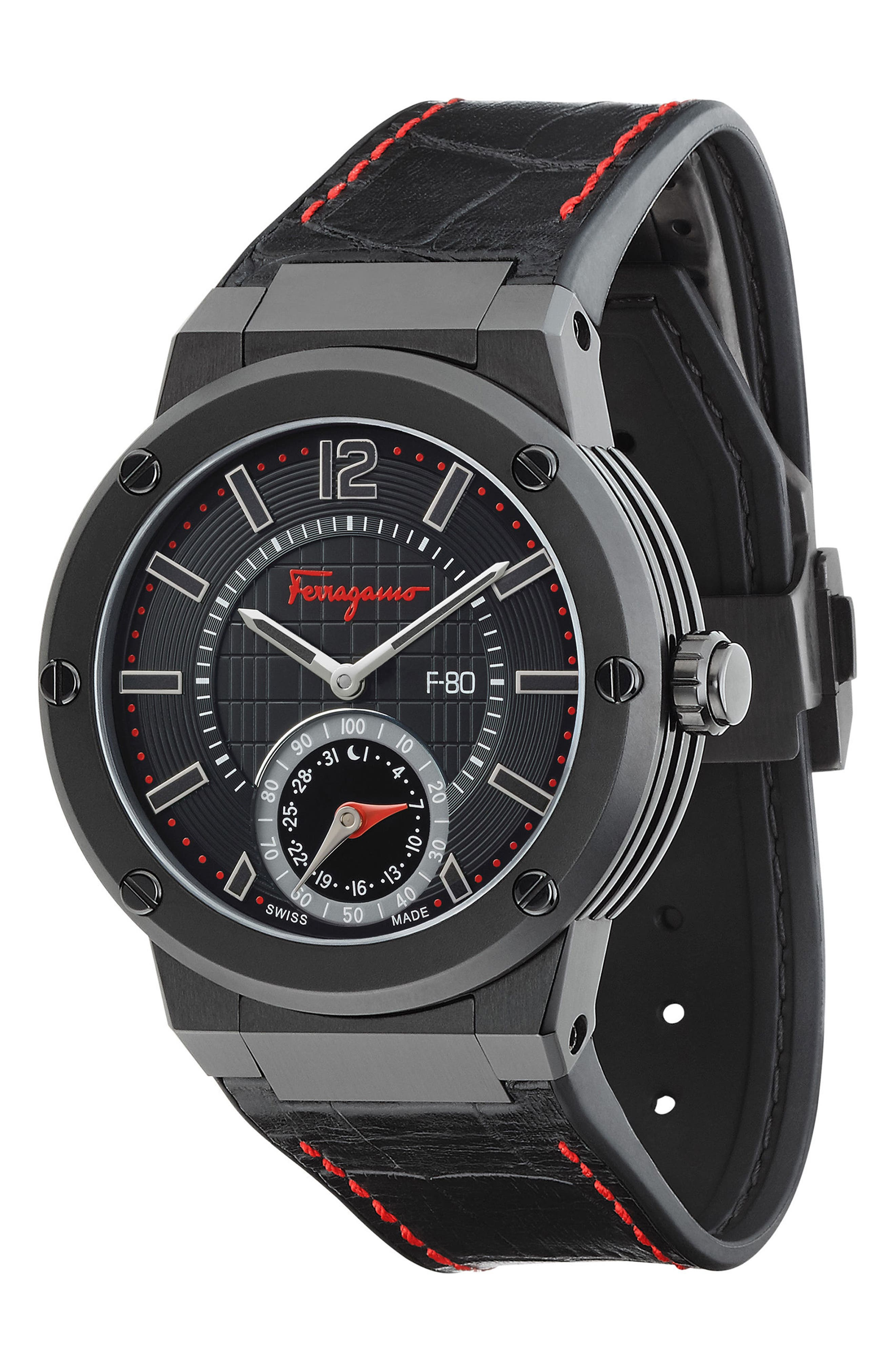 'F-80 Motion' Leather Strap Smart Watch, 44mm,                             Alternate thumbnail 13, color,