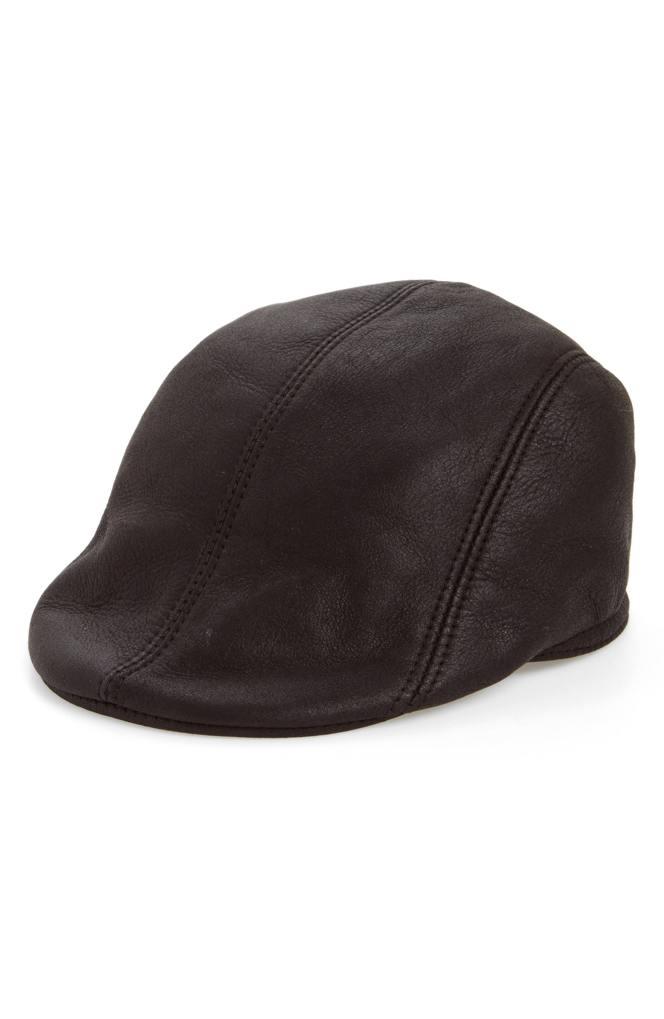 Genuine Shearling Leather Driving Cap,                             Main thumbnail 1, color,                             BLACK