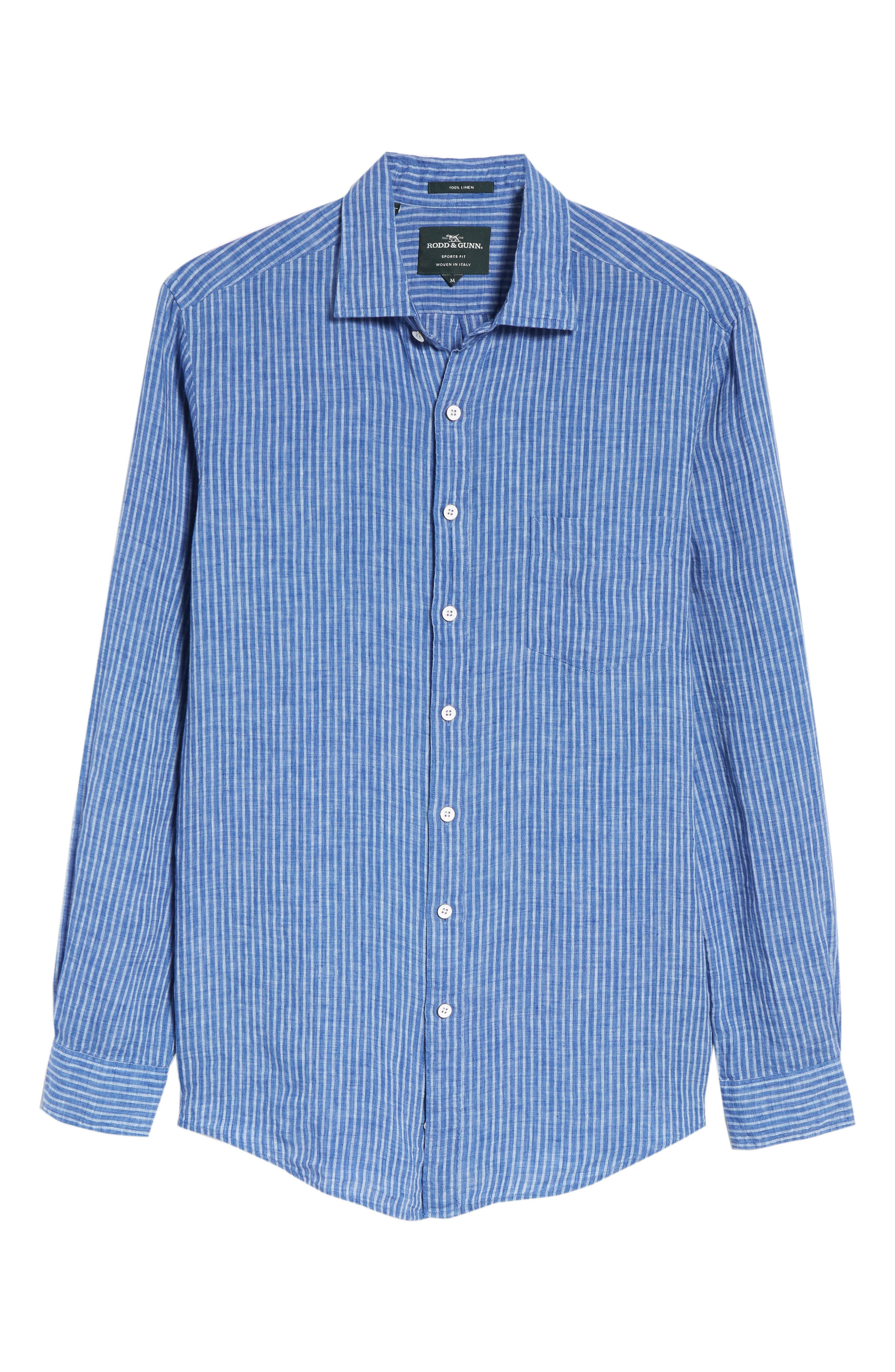 Warwick Junction Stripe Linen Sport Shirt,                             Alternate thumbnail 6, color,                             ULTRAMARINE