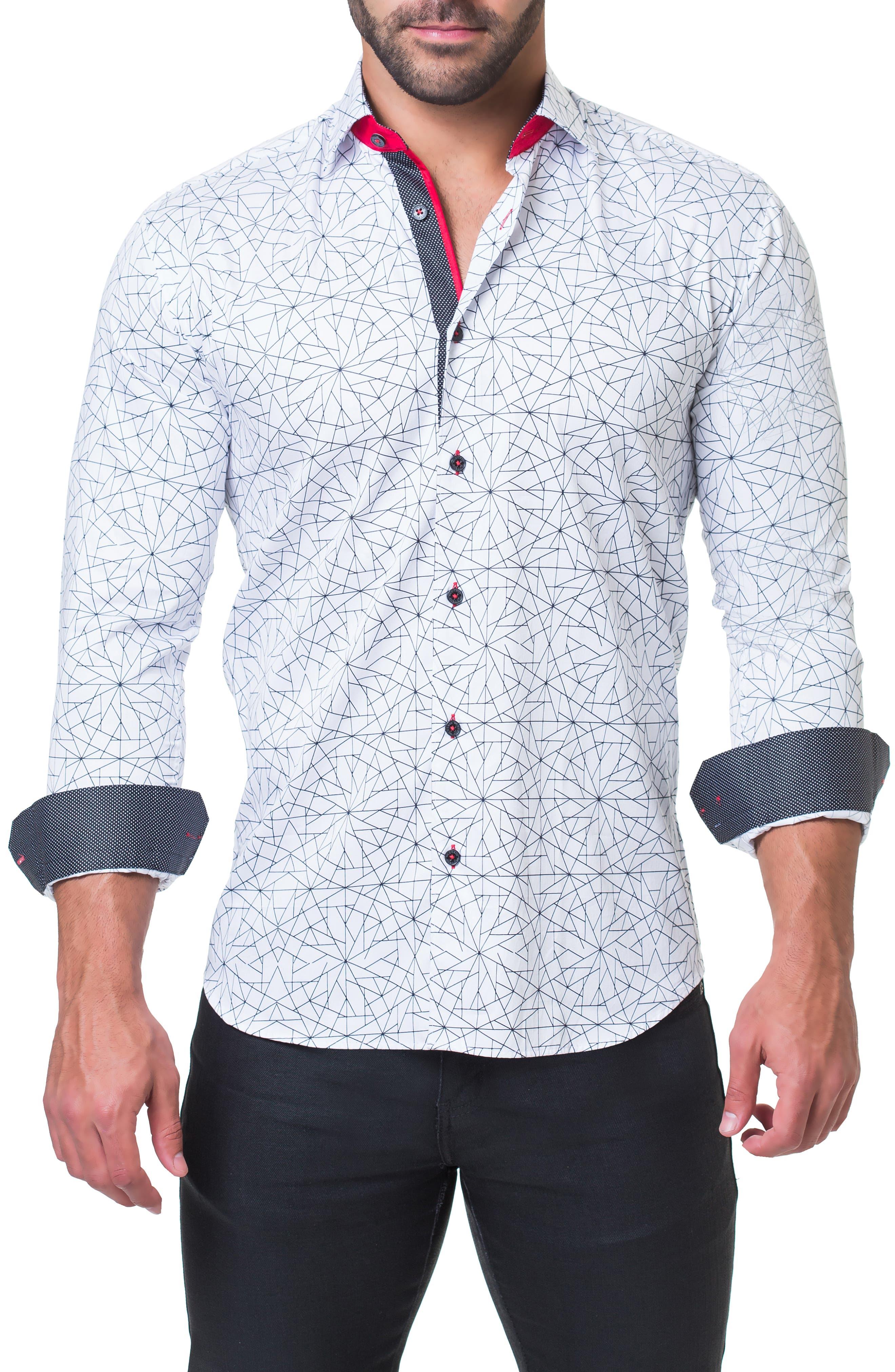 Fibonacci Geometric Regular Fit Print Sport Shirt,                             Alternate thumbnail 4, color,                             WHITE