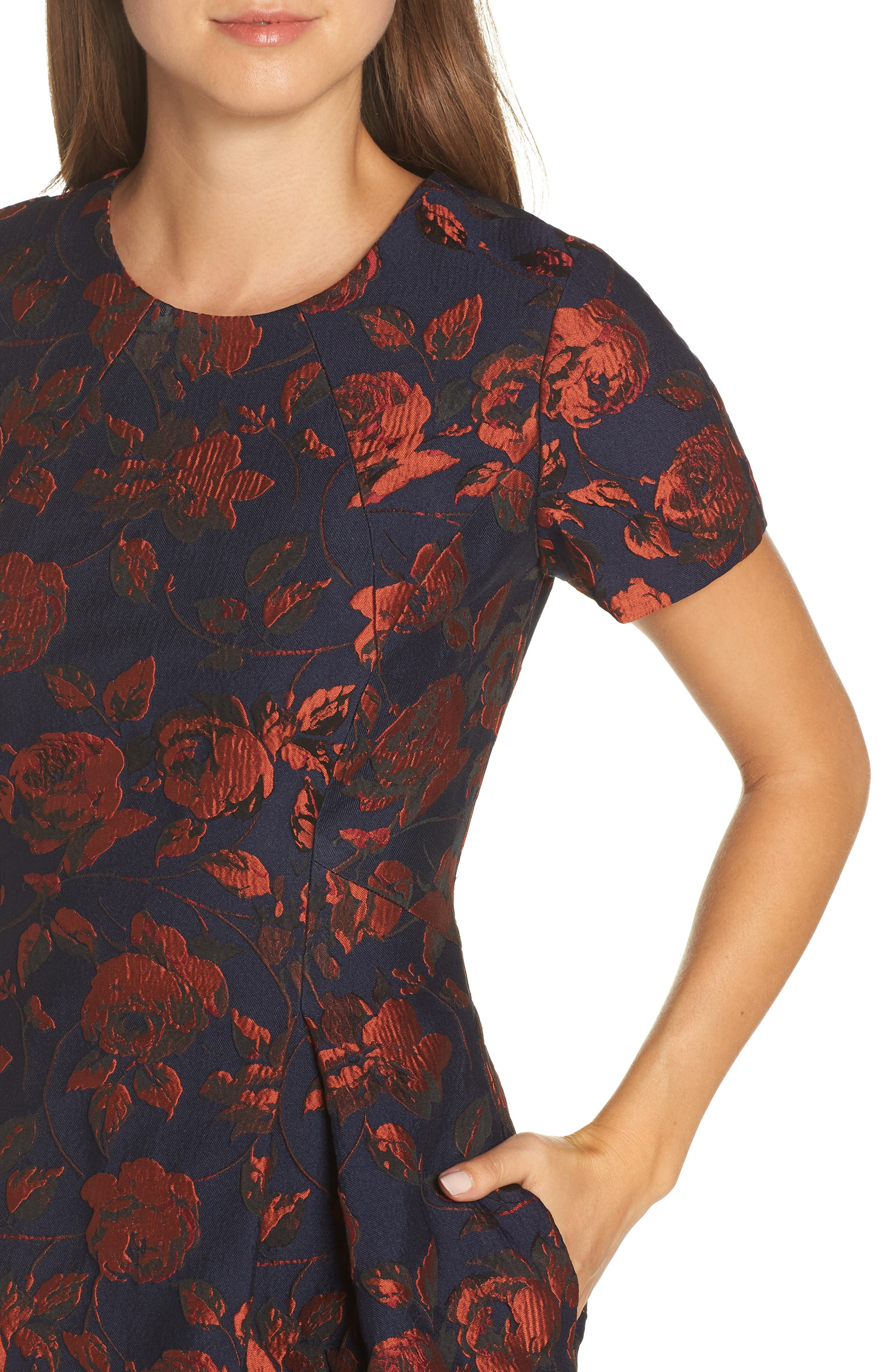 Jacquard Fit & Flare Dress,                             Alternate thumbnail 4, color,                             NAVY MULTI