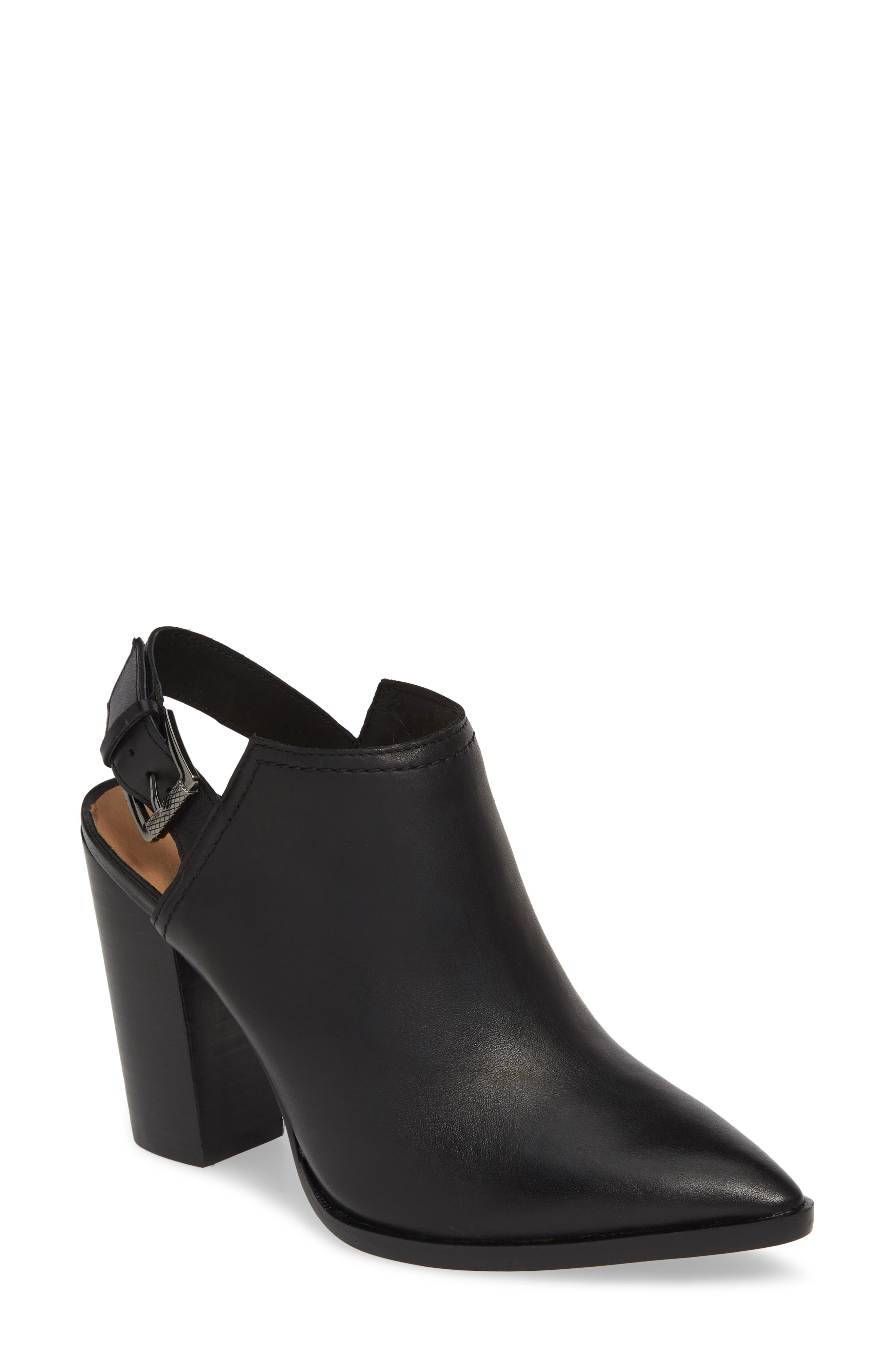HALOGEN<SUP>®</SUP>,                             Brooke Stacked Heel Bootie,                             Main thumbnail 1, color,                             BLACK LEATHER