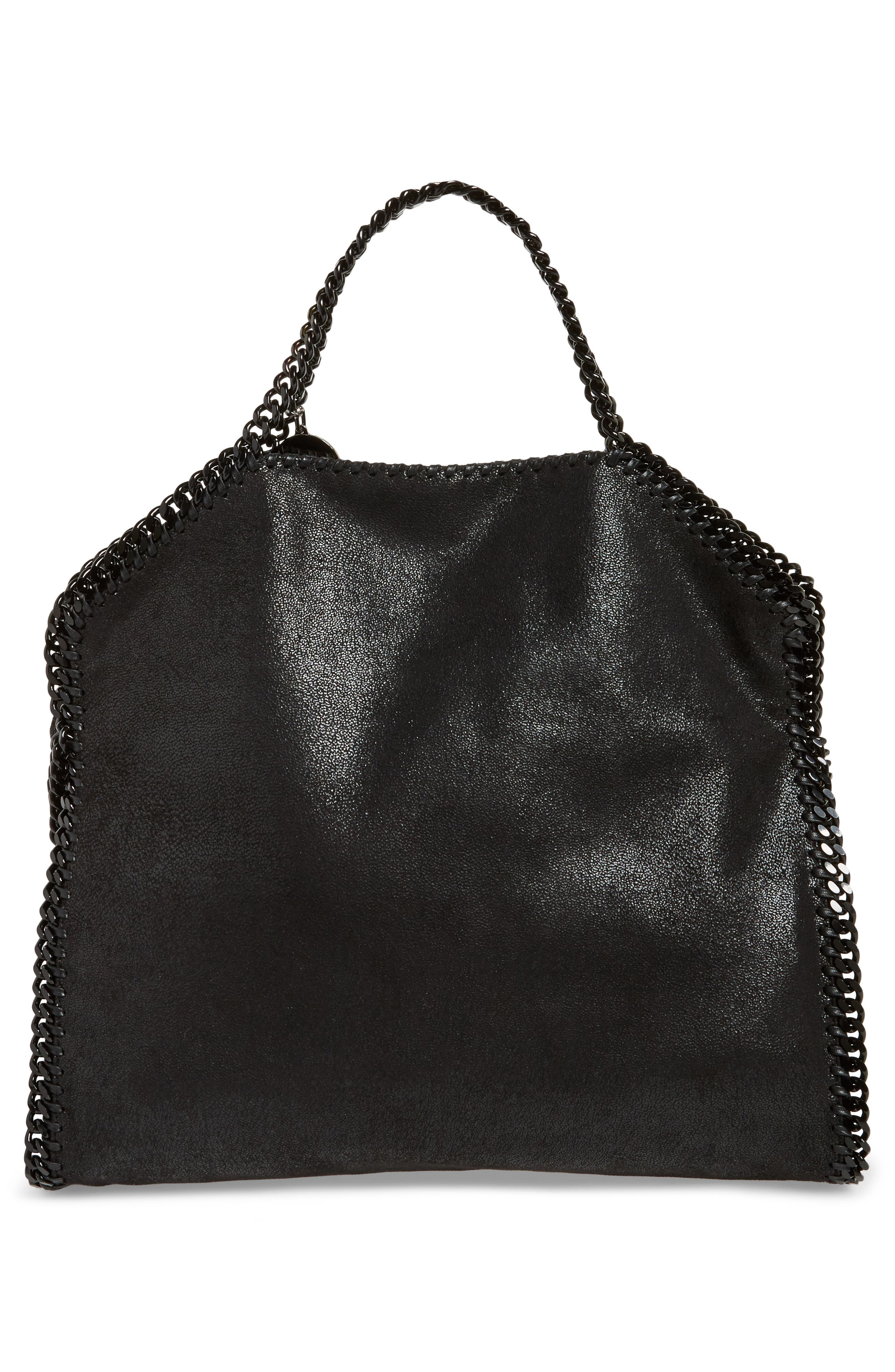 Falabella Shaggy Deer Faux Leather Tote,                             Alternate thumbnail 4, color,                             BLACK OUT