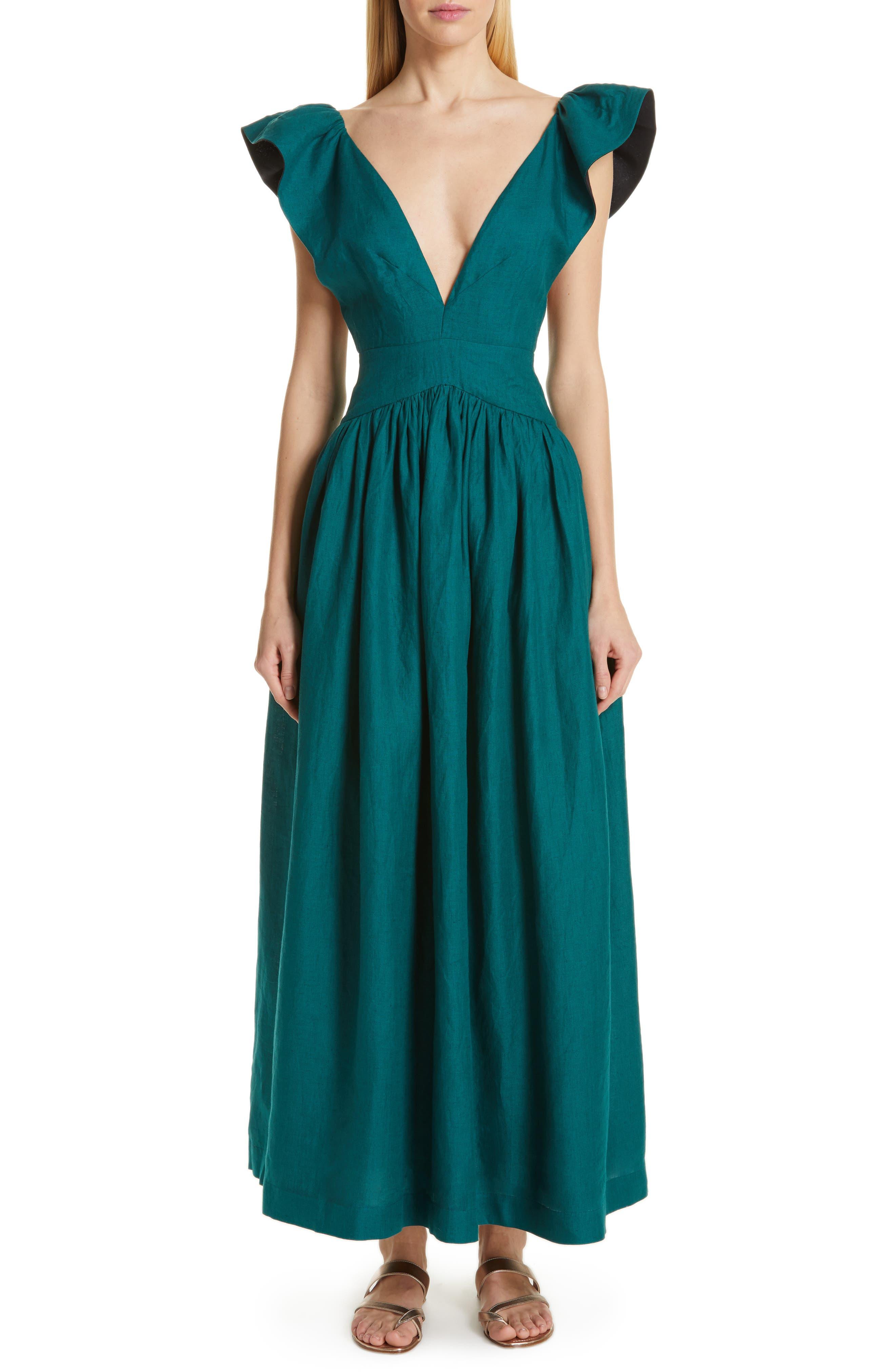 KALITA Persephone Linen Maxi Dress in Sea Nymph