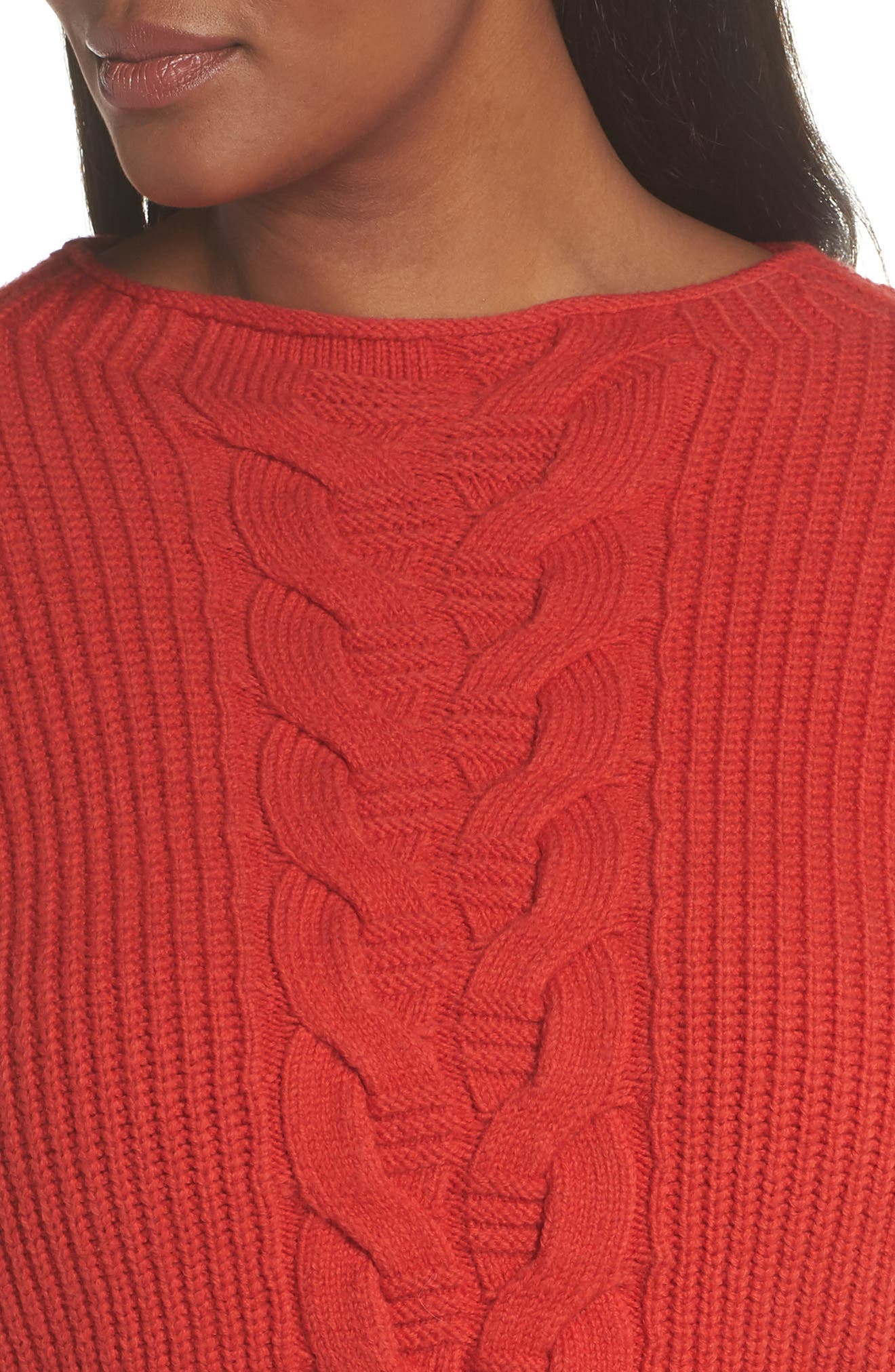 Cable Knit Sweater,                             Alternate thumbnail 4, color,                             RED BLOOM