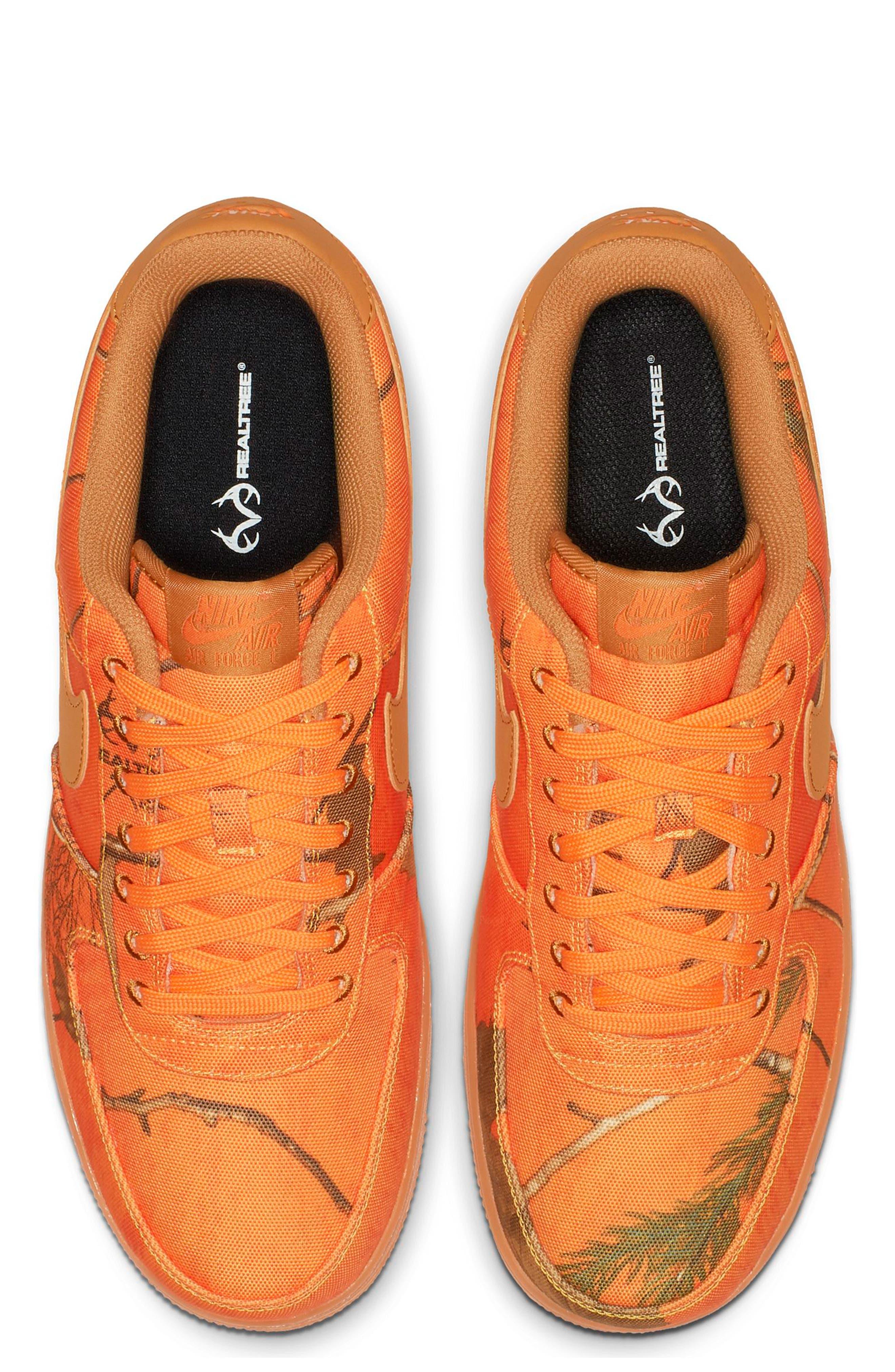 NIKE,                             Air Force 1 '07 LV8 3 Sneaker,                             Alternate thumbnail 4, color,                             ORANGE BLAZE/ WHITE/ BROWN