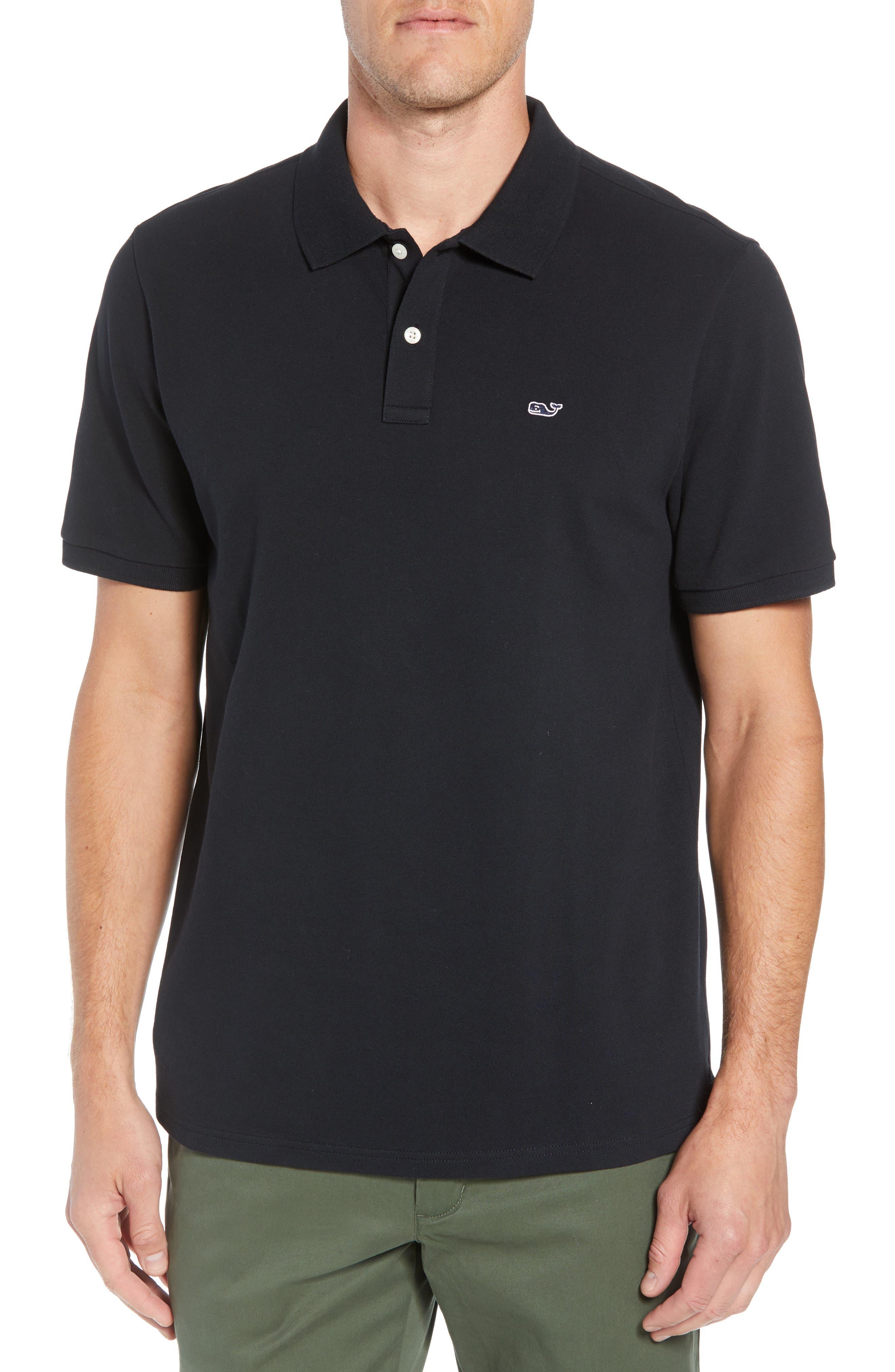 Regular Fit Piqué Polo,                         Main,                         color, JET BLACK