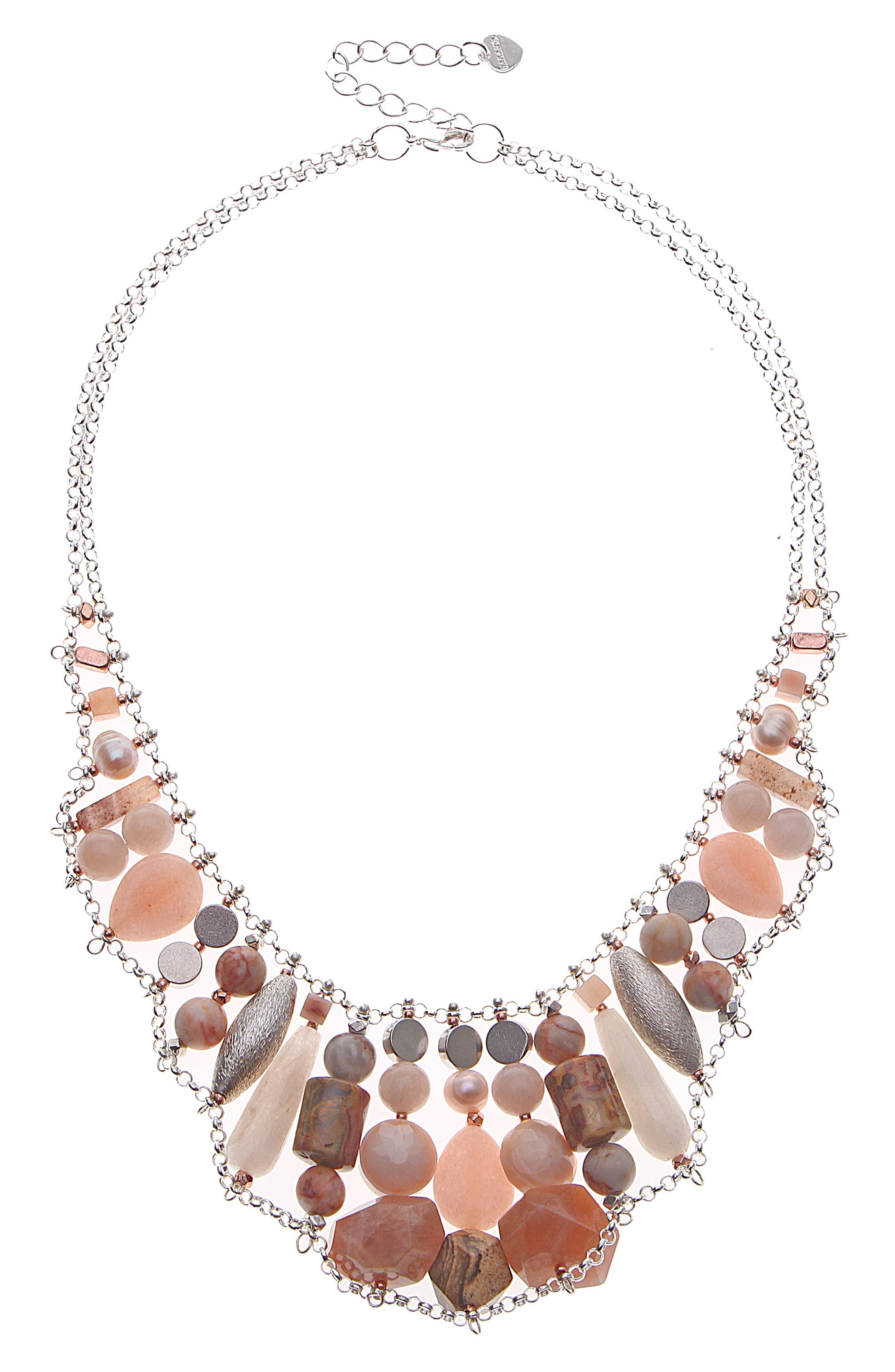 Stone & Freshwater Pearl Collar Necklace,                         Main,                         color, 250