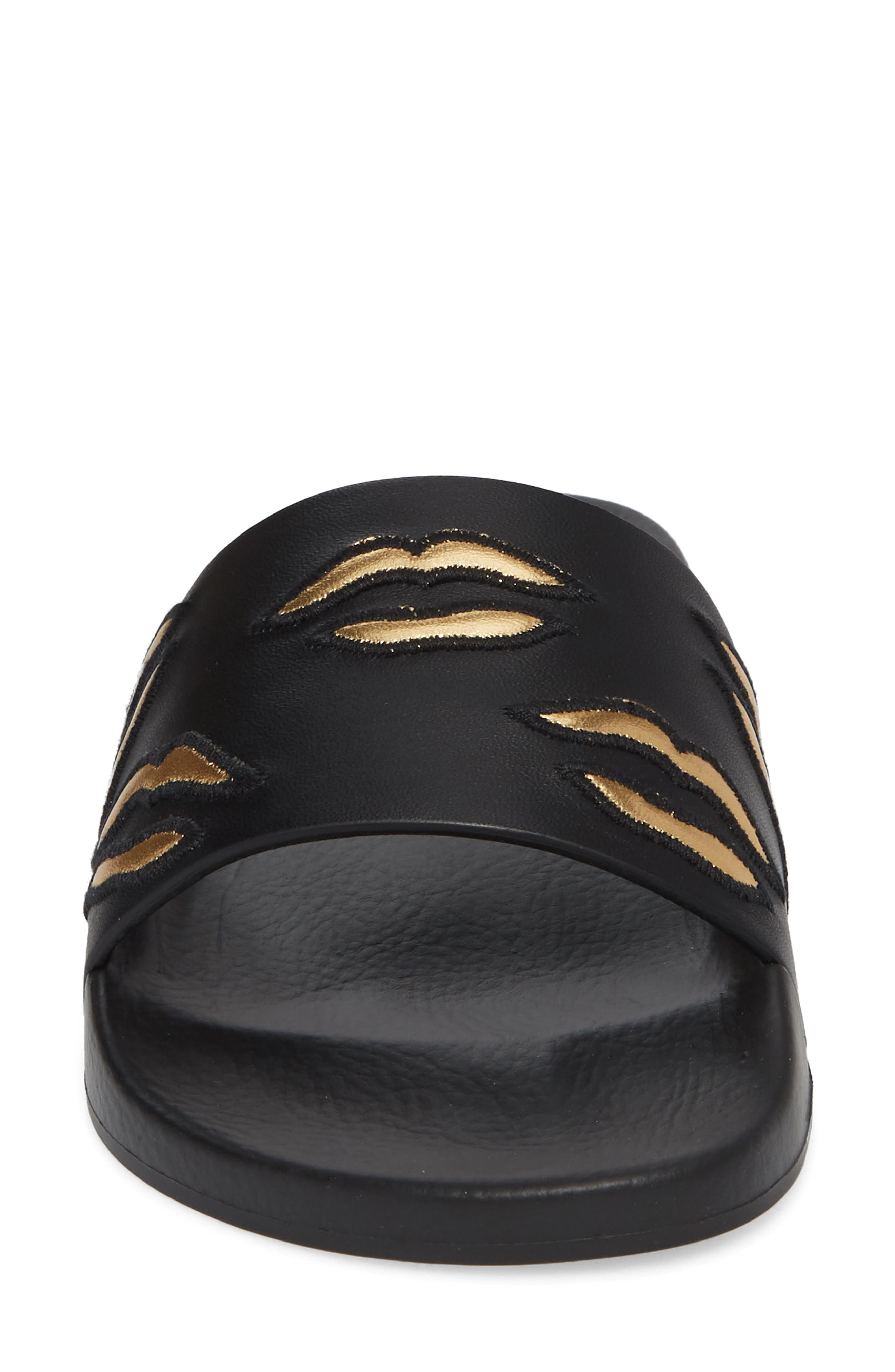 Kiss Slide Sandal,                             Alternate thumbnail 4, color,                             BLACK/ GOLD