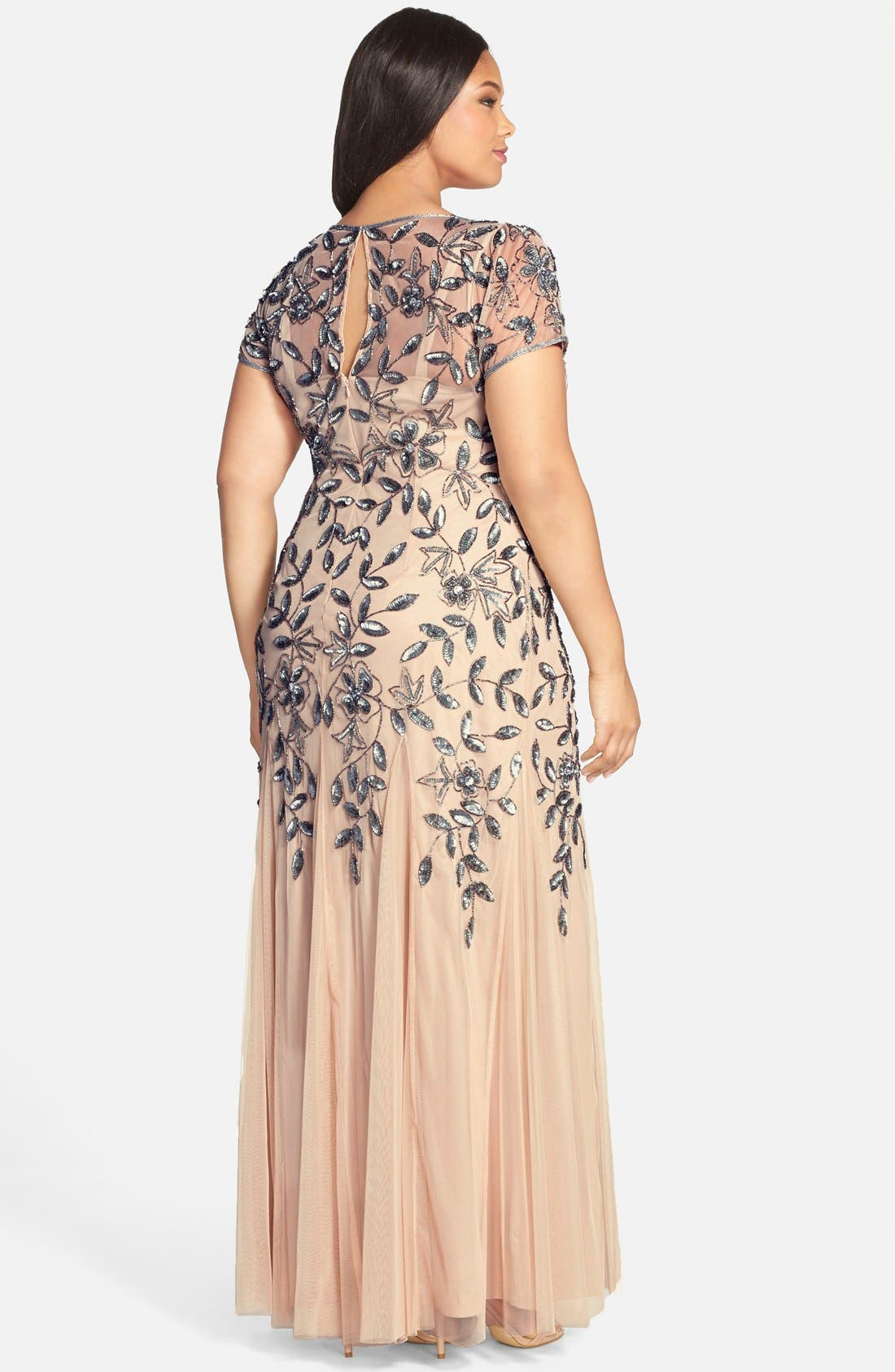 Floral Beaded Godet Gown,                             Alternate thumbnail 8, color,