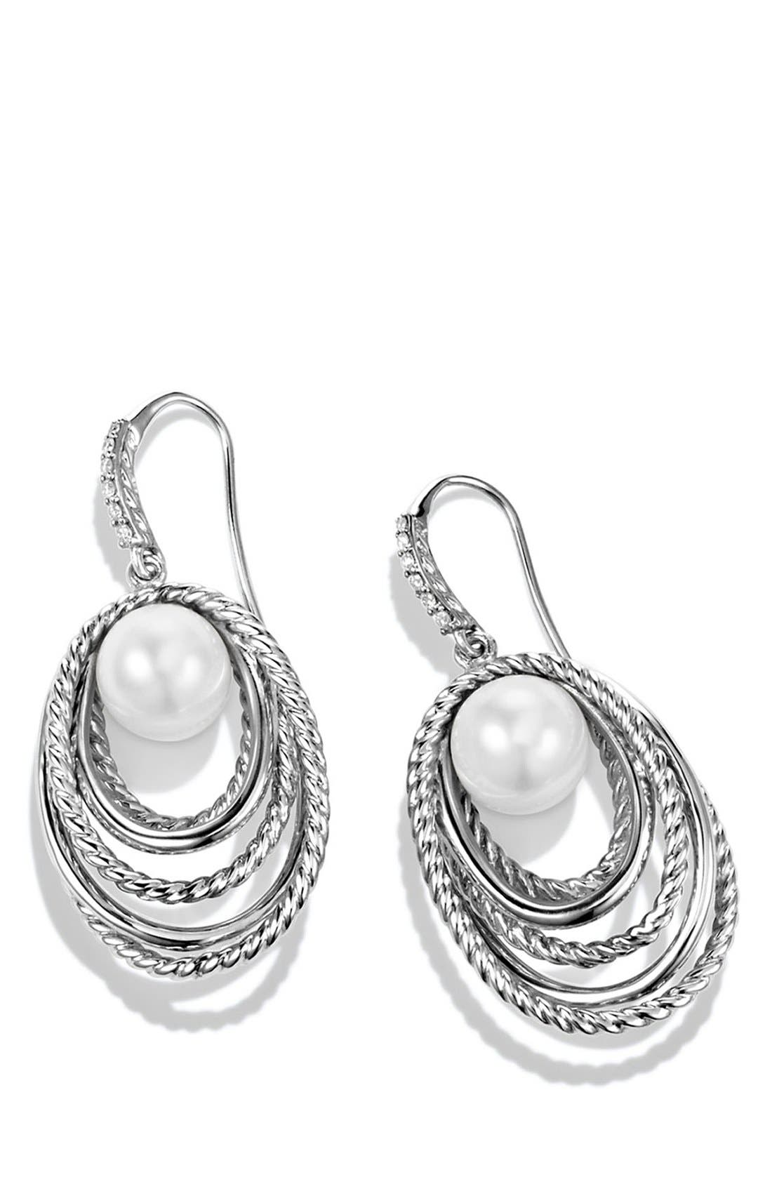 'Crossover' Pearl Drop Earrings with Diamonds,                             Alternate thumbnail 2, color,                             101