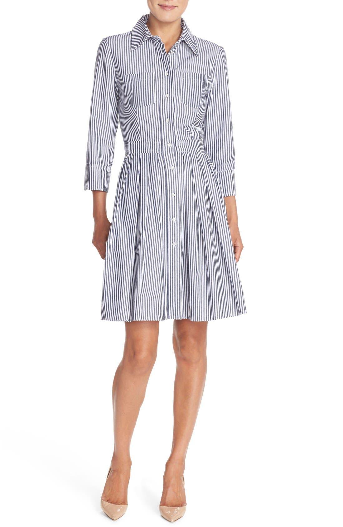 Stripe Cotton Shirtdress,                             Alternate thumbnail 4, color,                             421