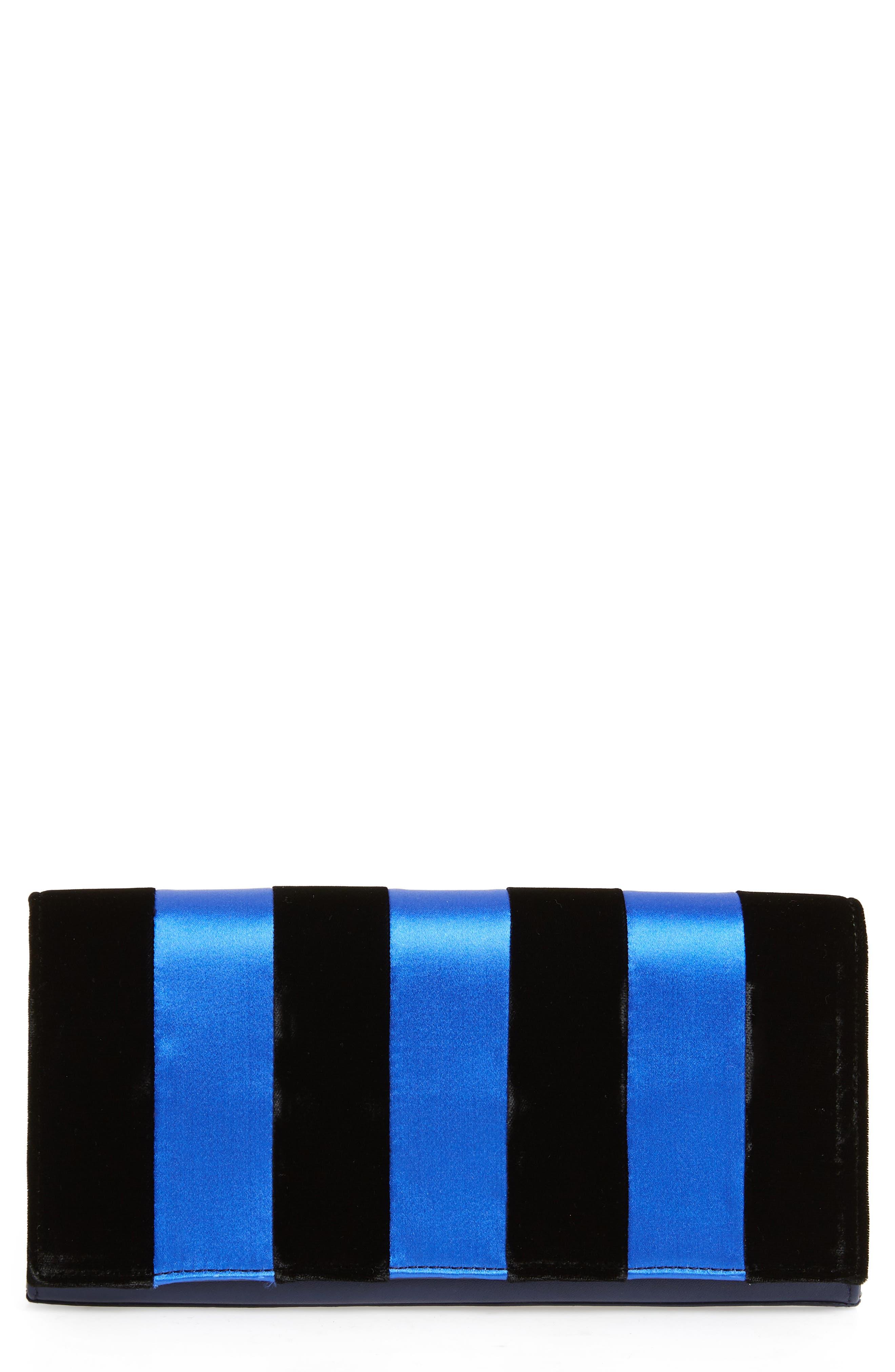 Stripe East/West Velvet & Satin Clutch,                         Main,                         color, 415
