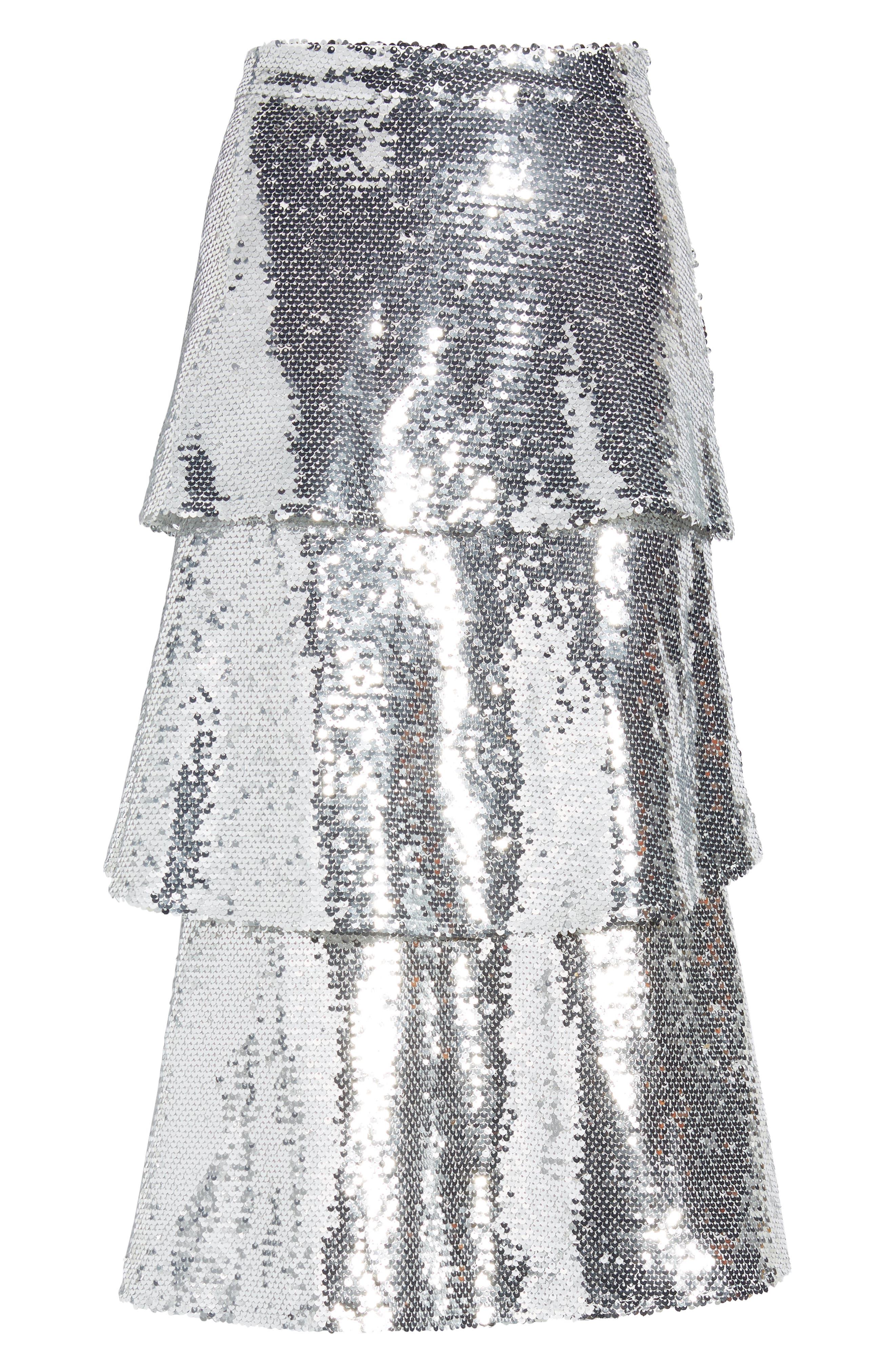Tiered Sequin Midi Skirt,                             Alternate thumbnail 6, color,                             040