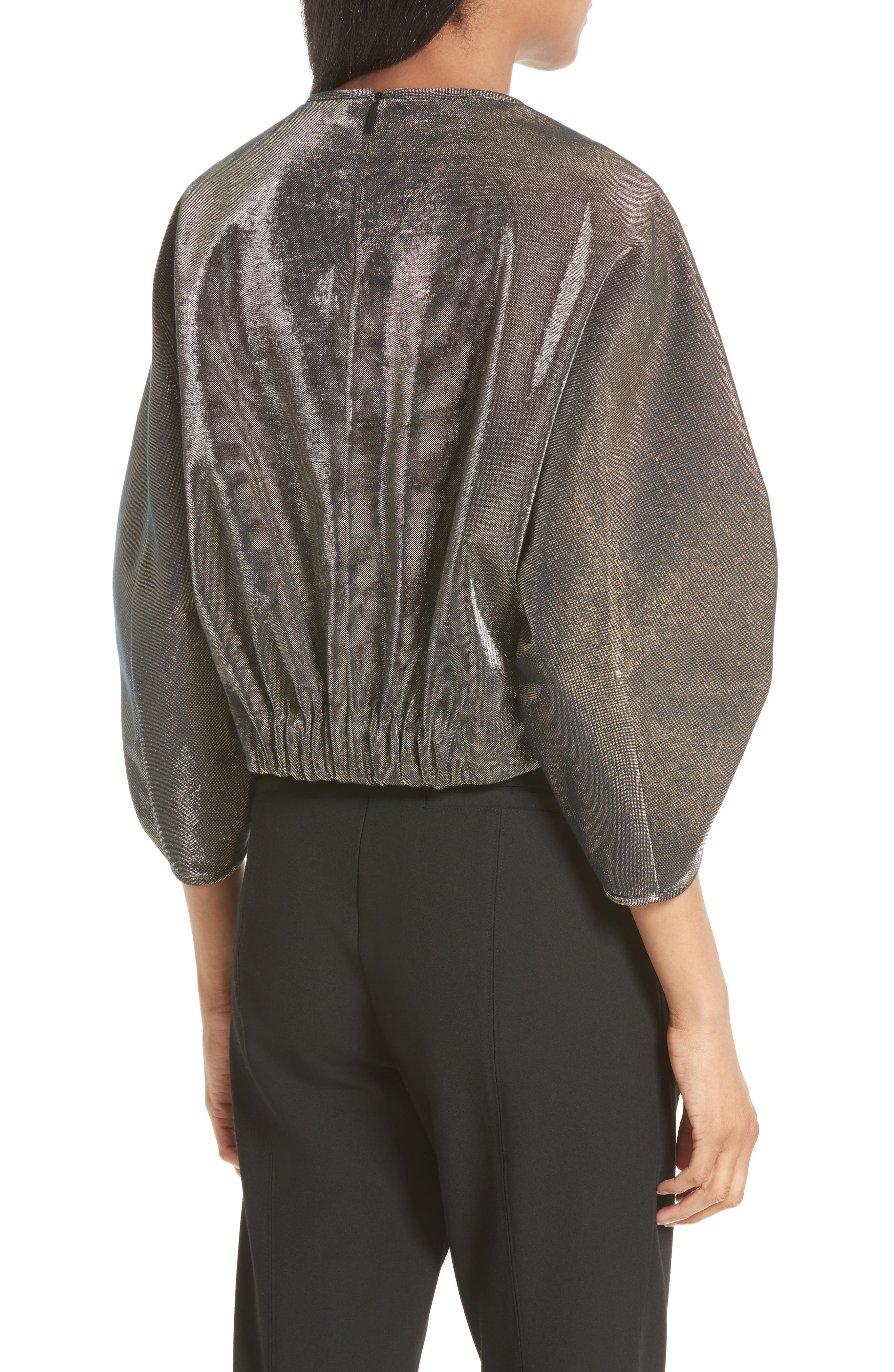 Ruched Sleeve Metallic Top,                             Alternate thumbnail 2, color,                             710