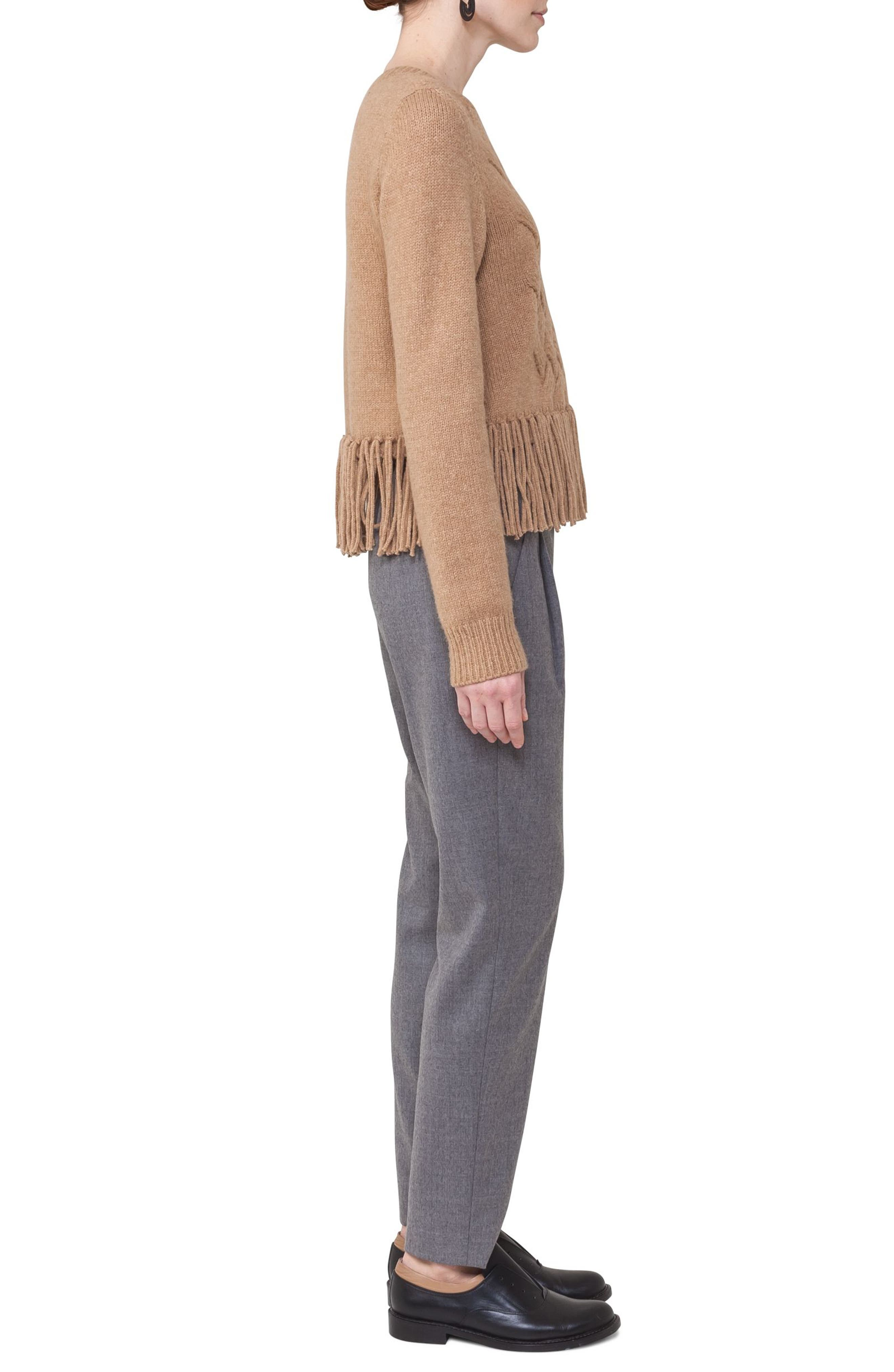 Fringe Cable Knit Wool Blend Pullover,                             Alternate thumbnail 4, color,                             200