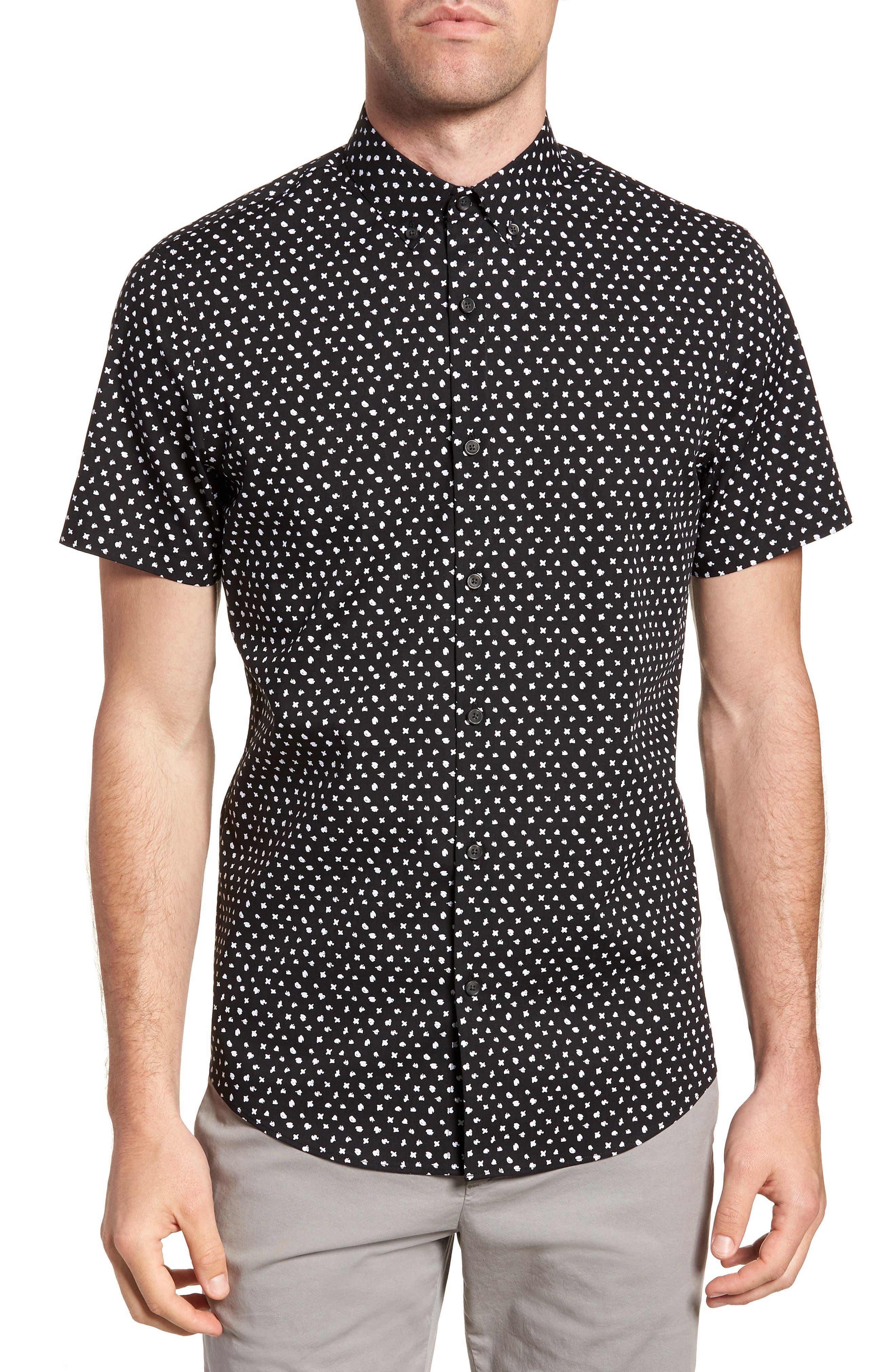 CALIBRATE Trim Fit Dot Print Sport Shirt, Main, color, 001