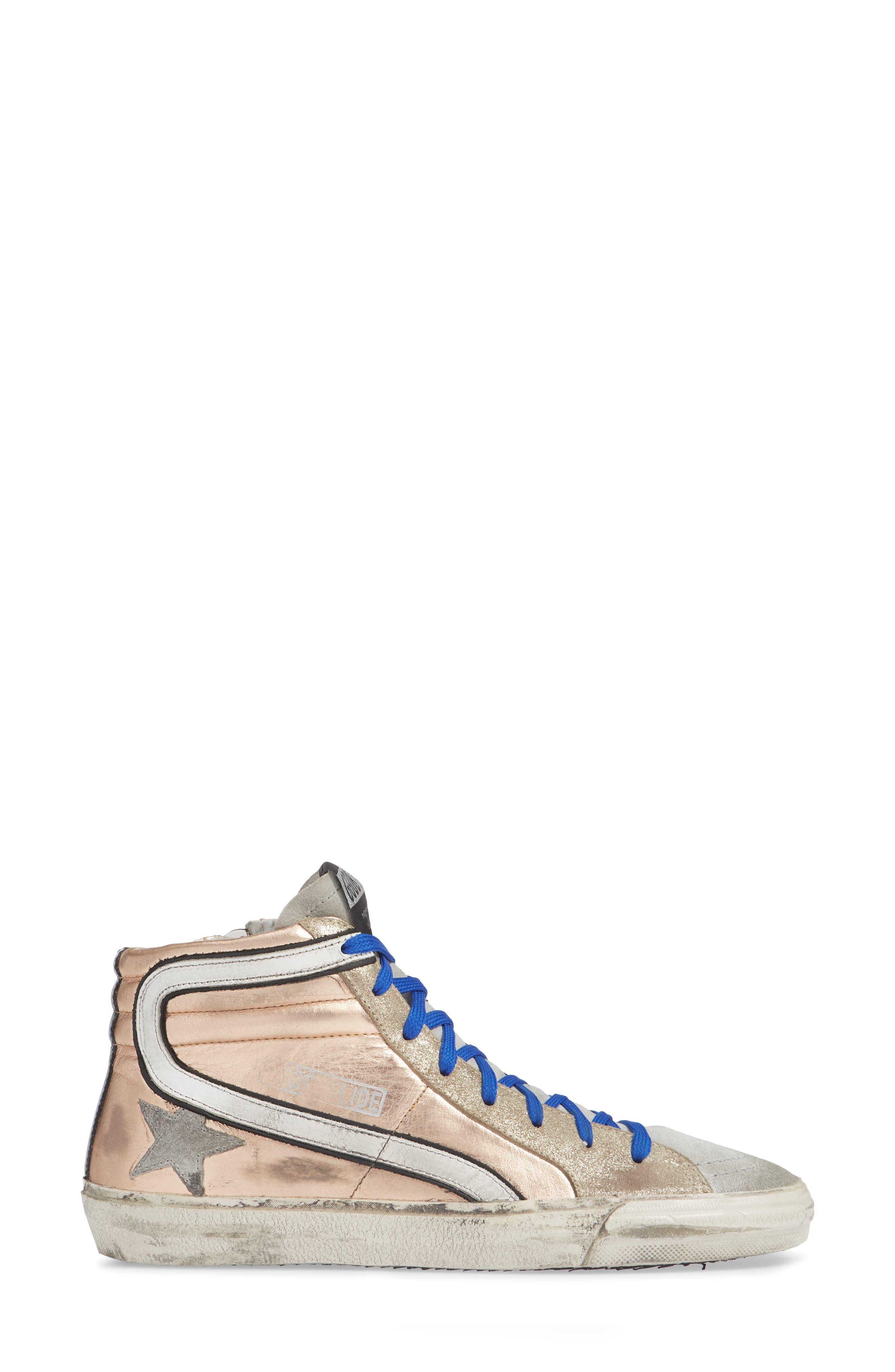 High Top Sneaker,                             Alternate thumbnail 3, color,                             ROSE GOLD/ GREY