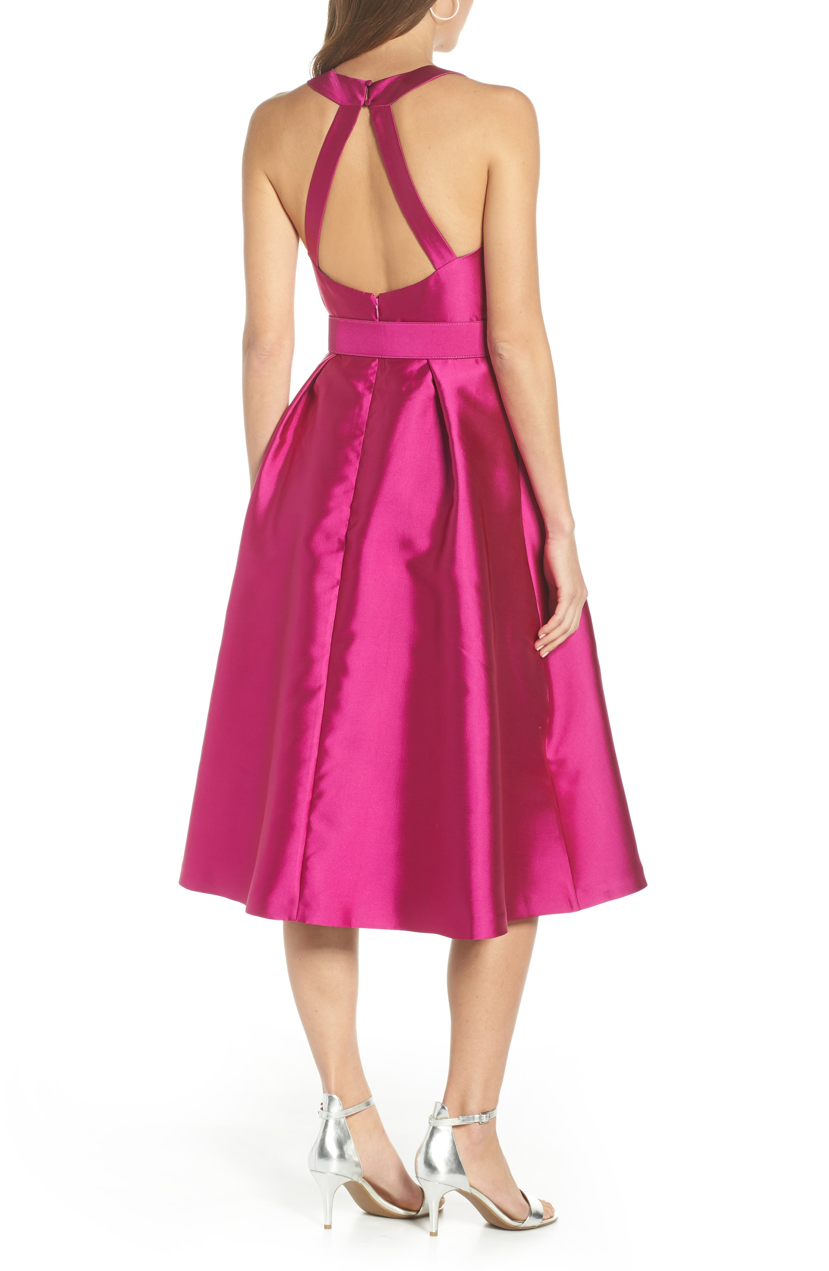1901,                             Belted Fit & Flare Dress,                             Alternate thumbnail 2, color,                             PINK