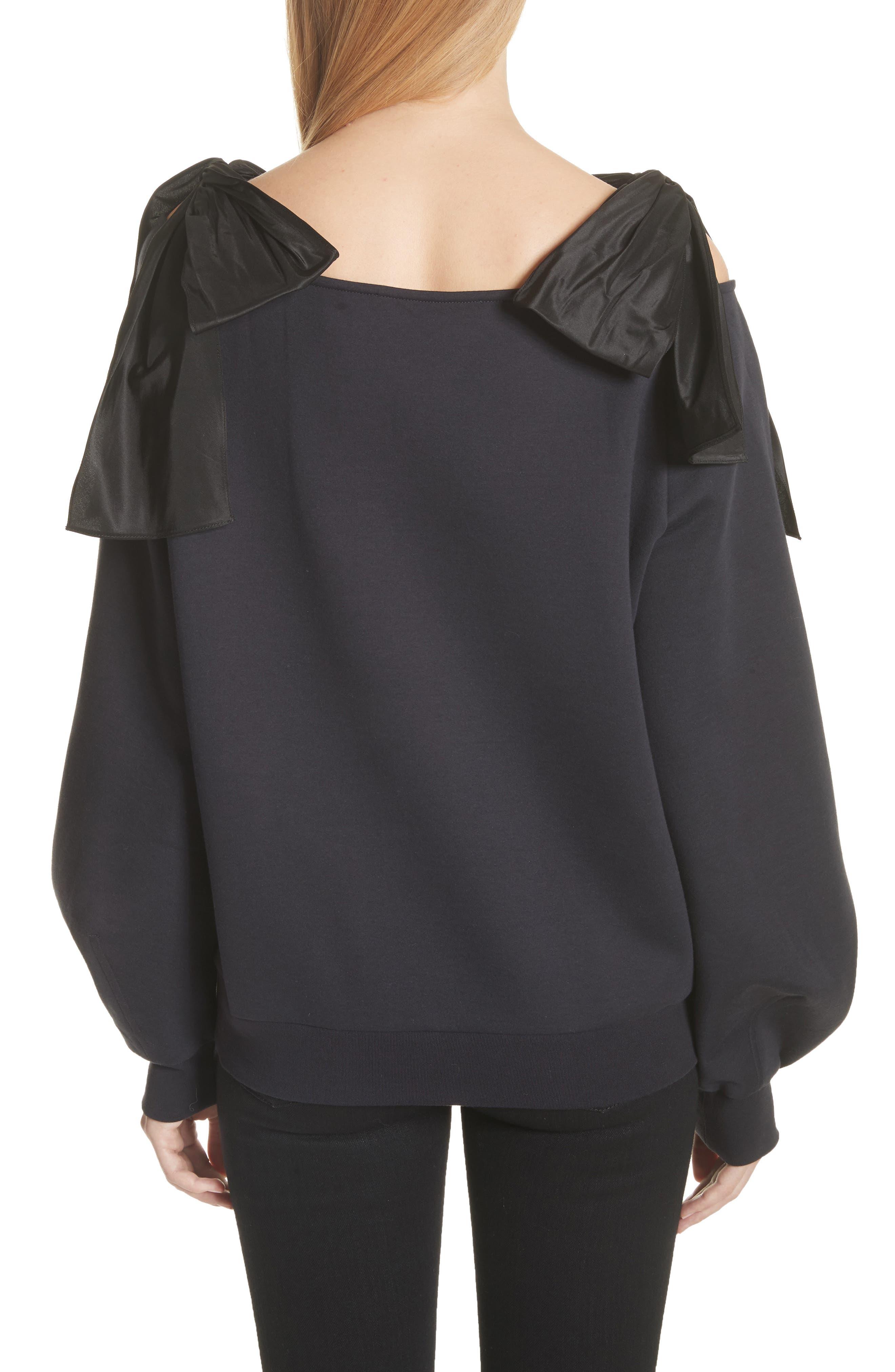 Bow Strap Cold Shoulder Sweatshirt,                             Alternate thumbnail 2, color,                             010