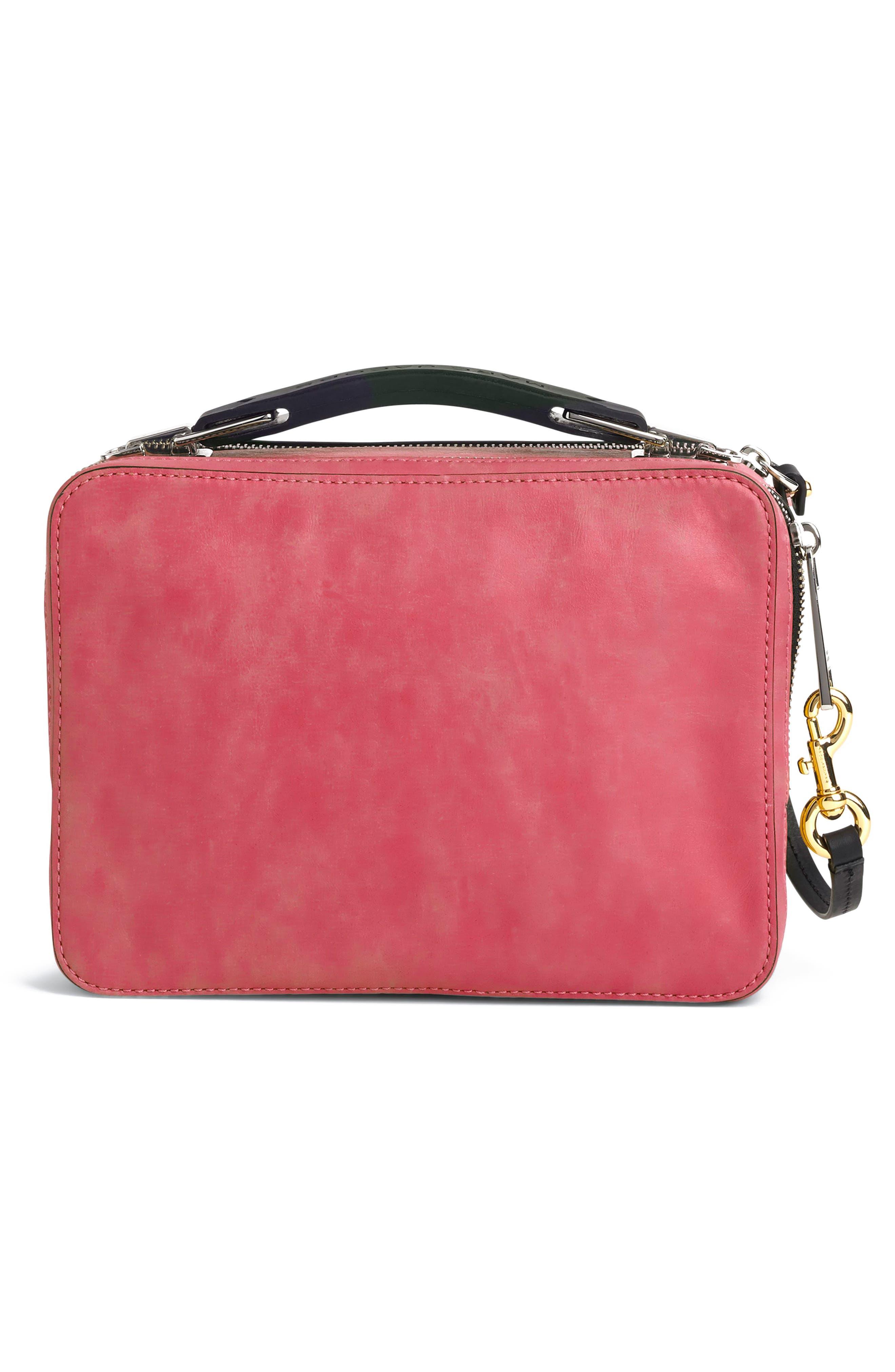 The Box Leather Handbag,                             Alternate thumbnail 2, color,                             PEONY