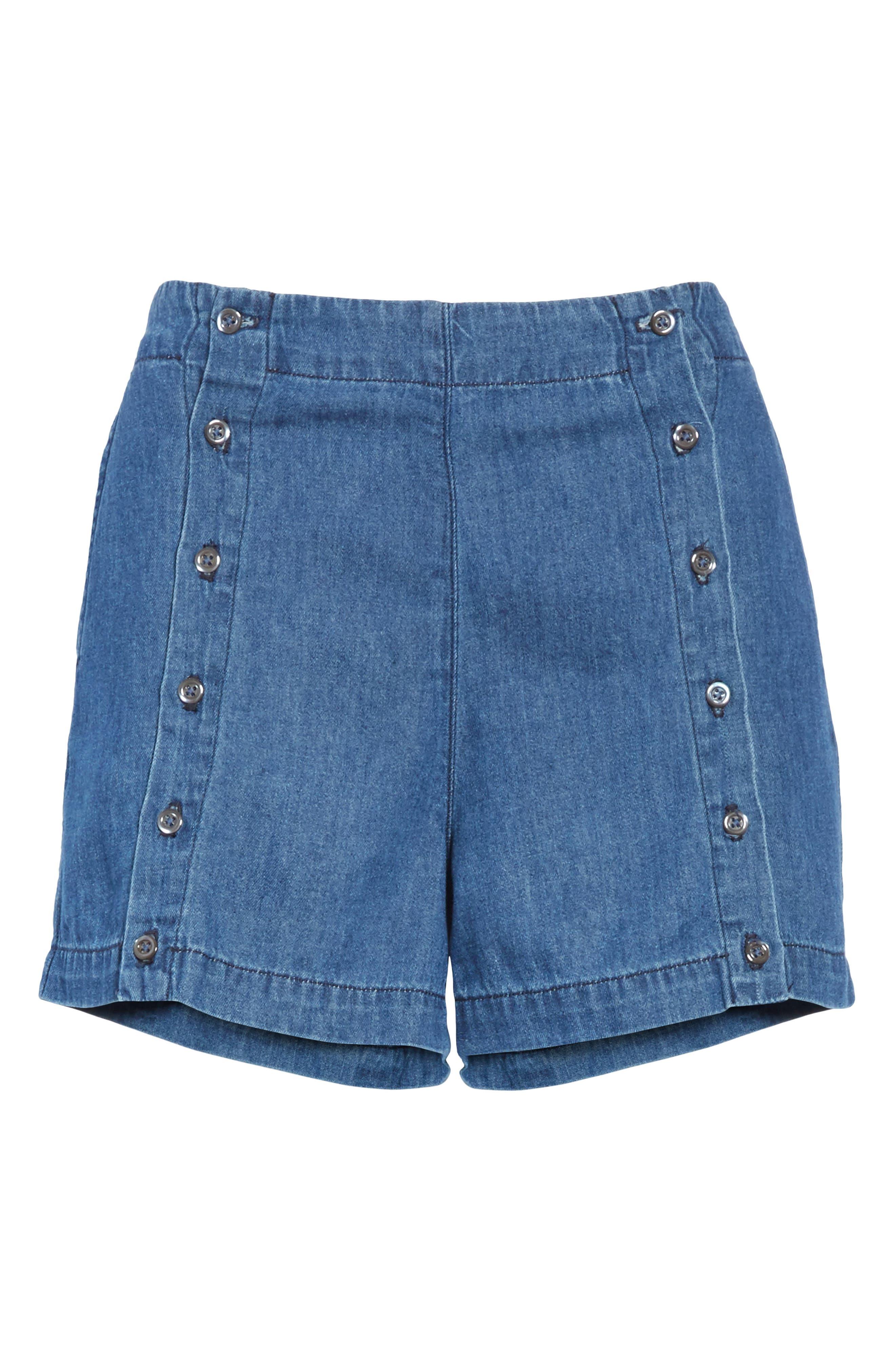 Amy Button Front Denim Shorts,                             Alternate thumbnail 6, color,                             ABELLA SHORT