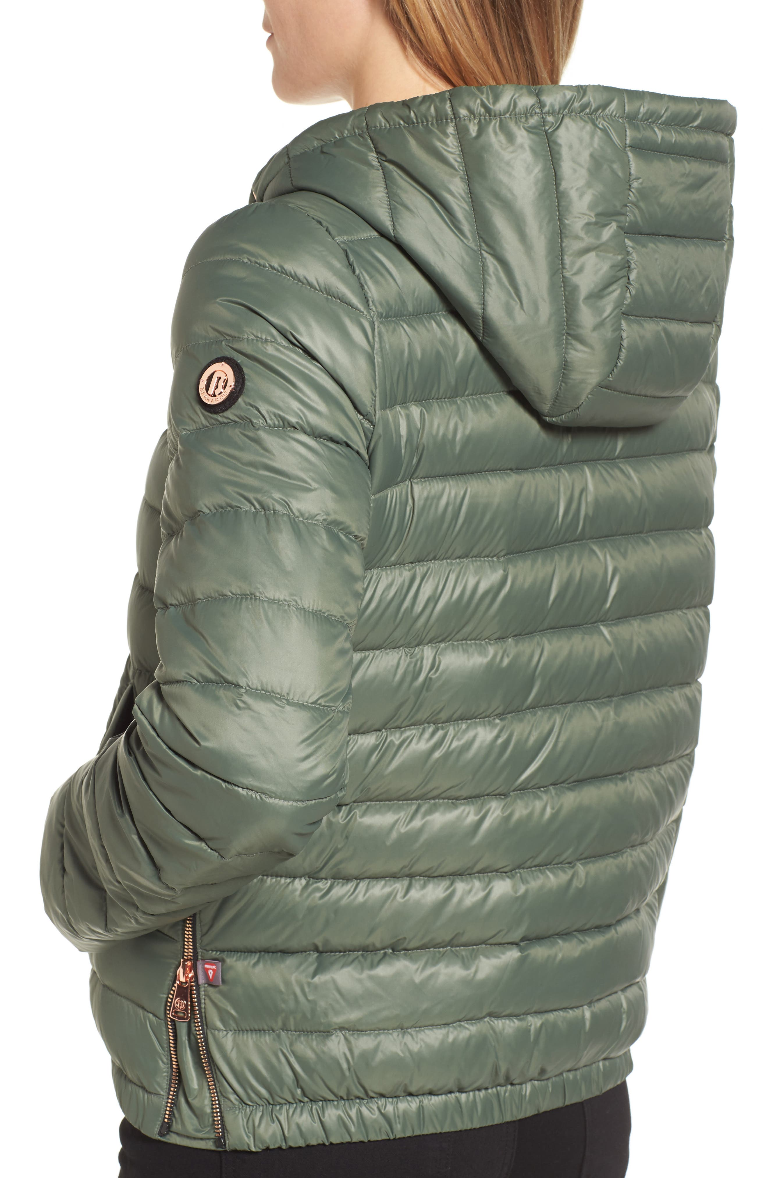 Water Resistant Insulated Hooded Bomber Jacket,                             Alternate thumbnail 10, color,