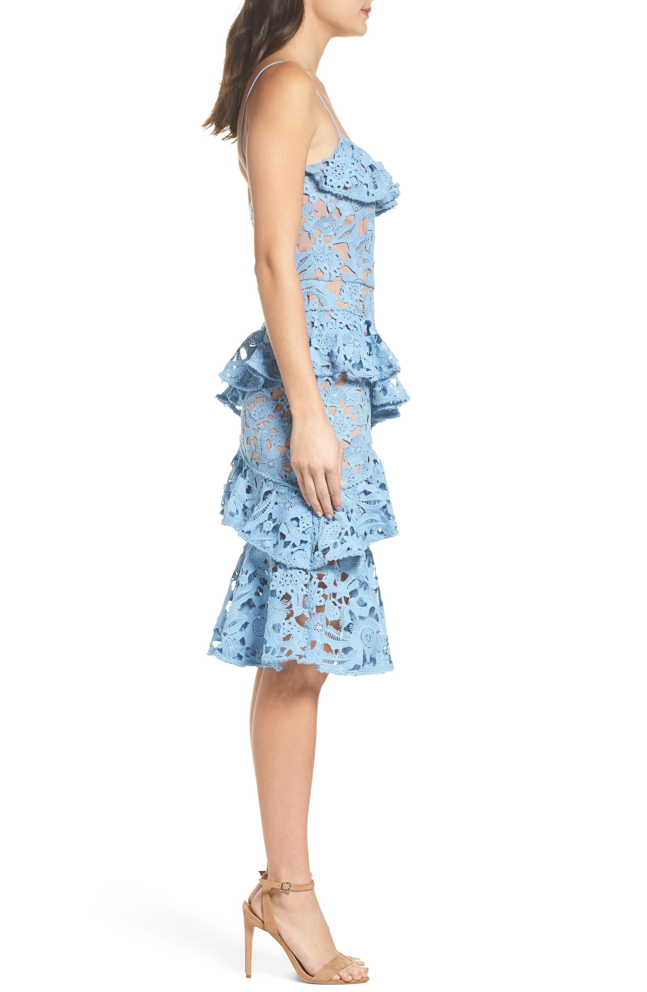 Lace Parfait Ruffle Dress,                             Alternate thumbnail 3, color,