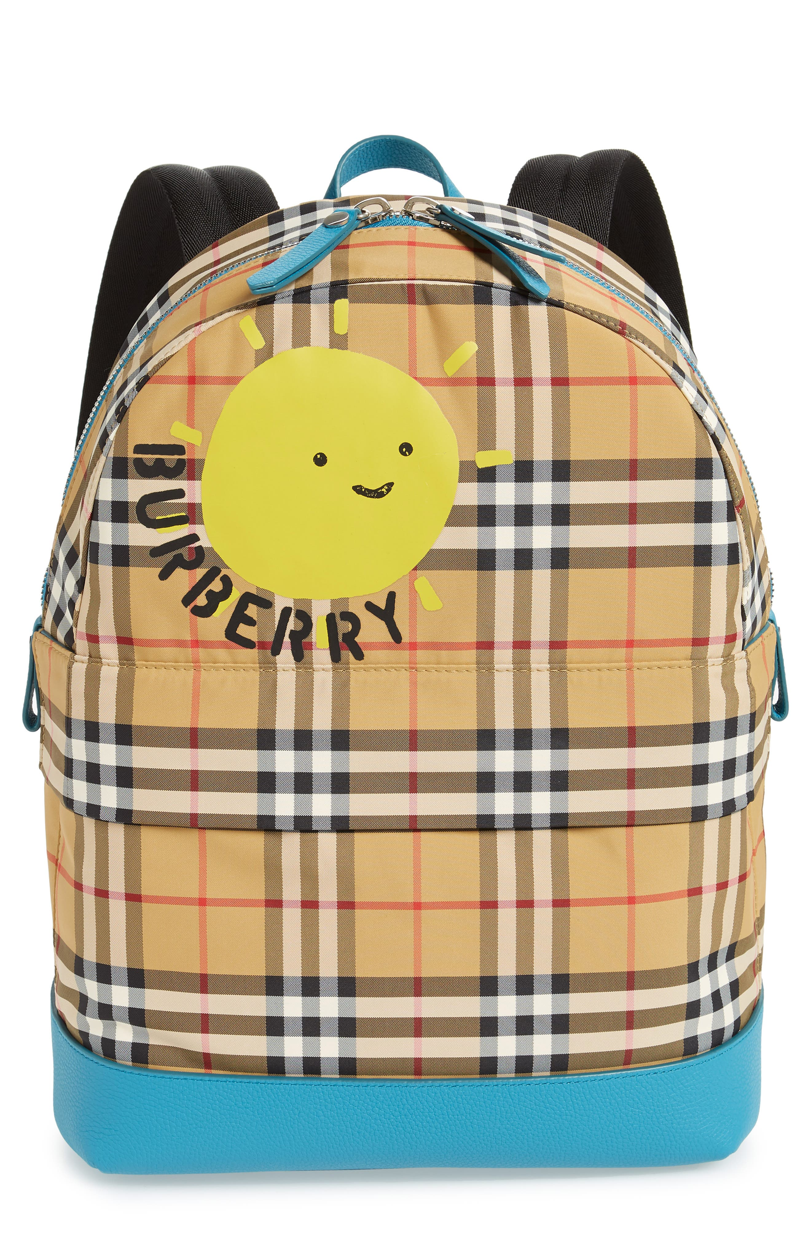 BURBERRY,                             Nico Sun Check Nylon Backpack,                             Main thumbnail 1, color,                             ANTIQUE YELLW IP CHK