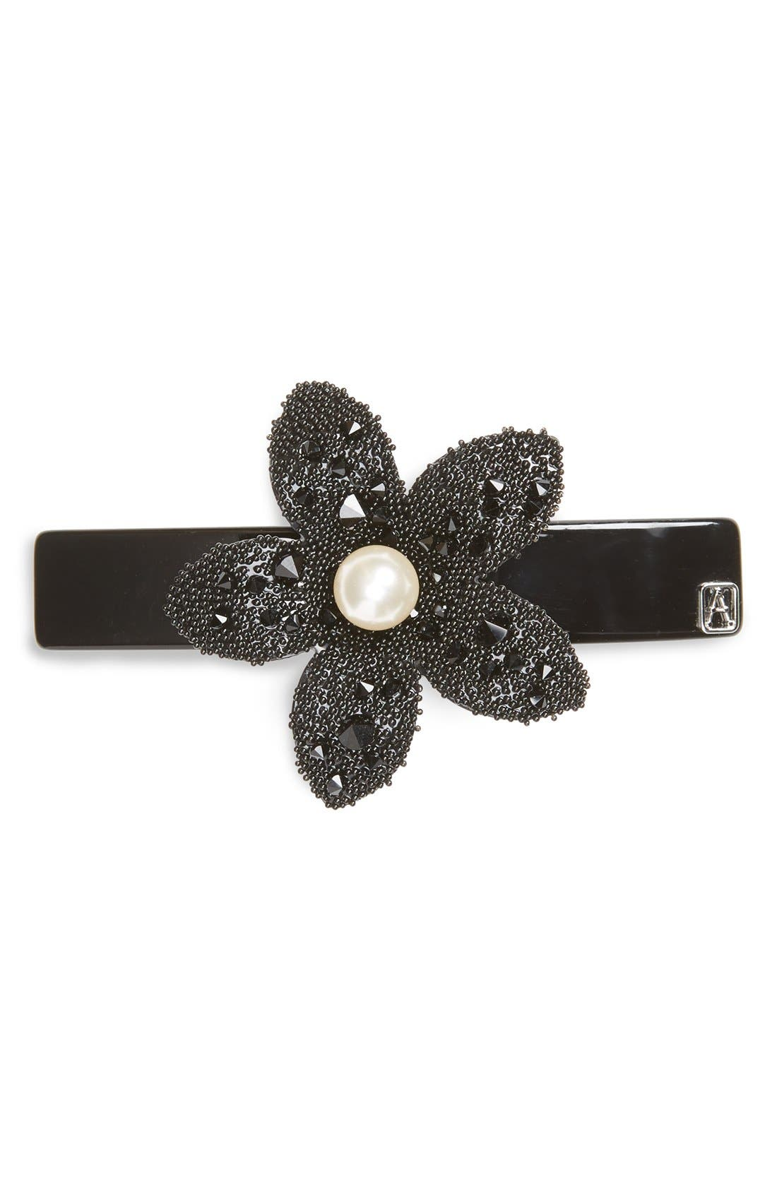 'Flower & Strass' Barrette,                             Main thumbnail 1, color,                             001