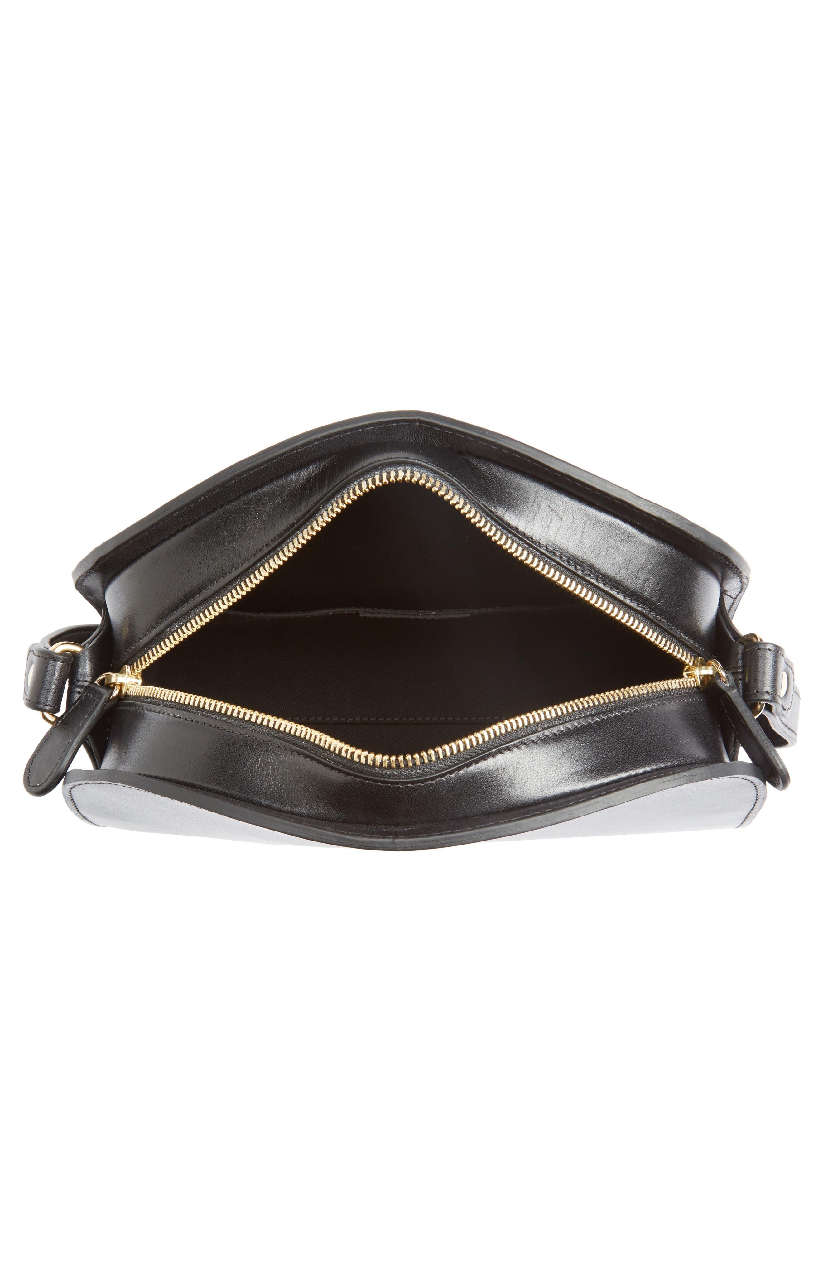 Sac Demi Lune Leather Crossbody Bag,                             Alternate thumbnail 4, color,                             001
