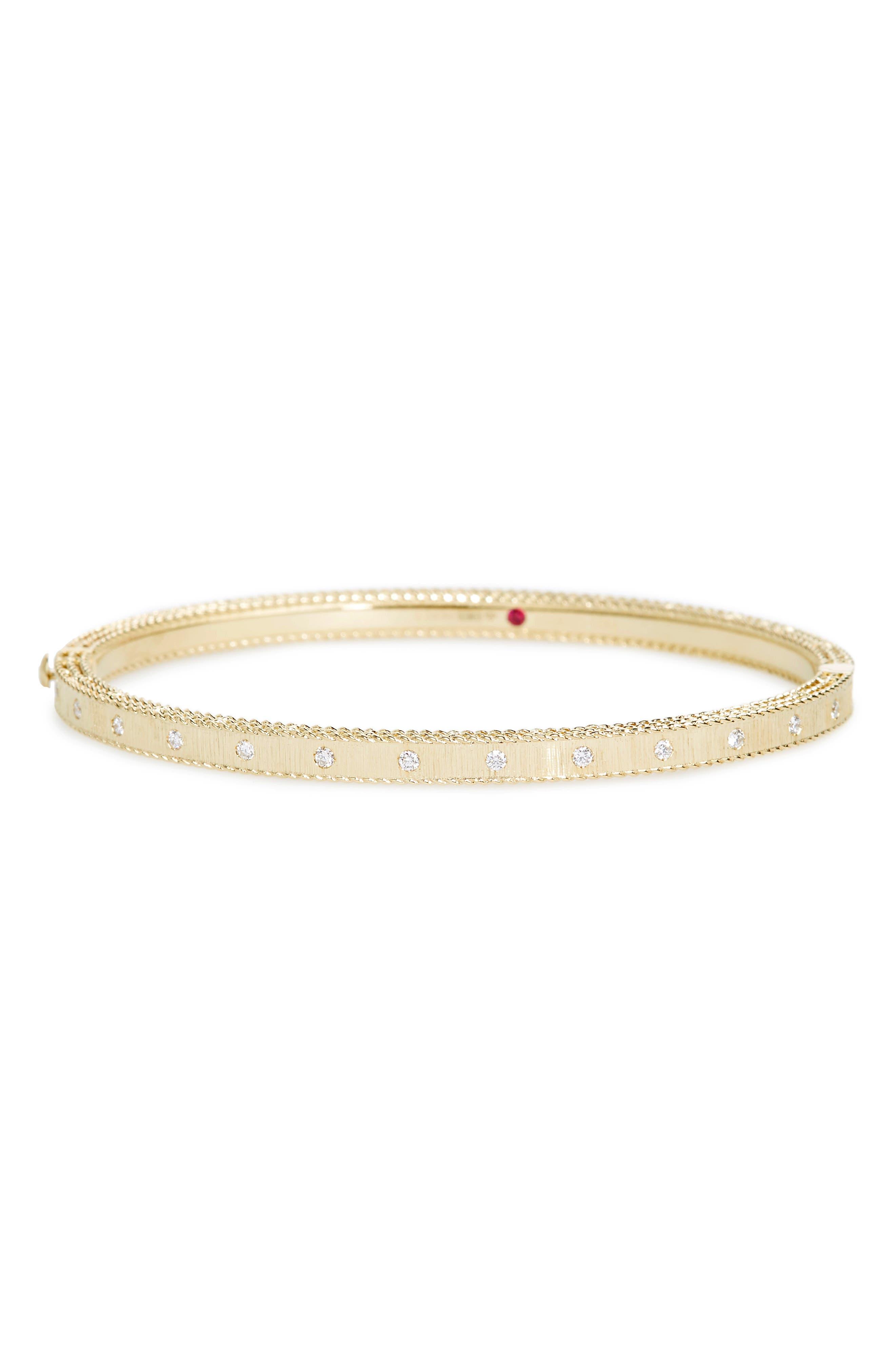 ROBERTO COIN,                             Princess Diamond Bracelet,                             Main thumbnail 1, color,                             YELLOW GOLD