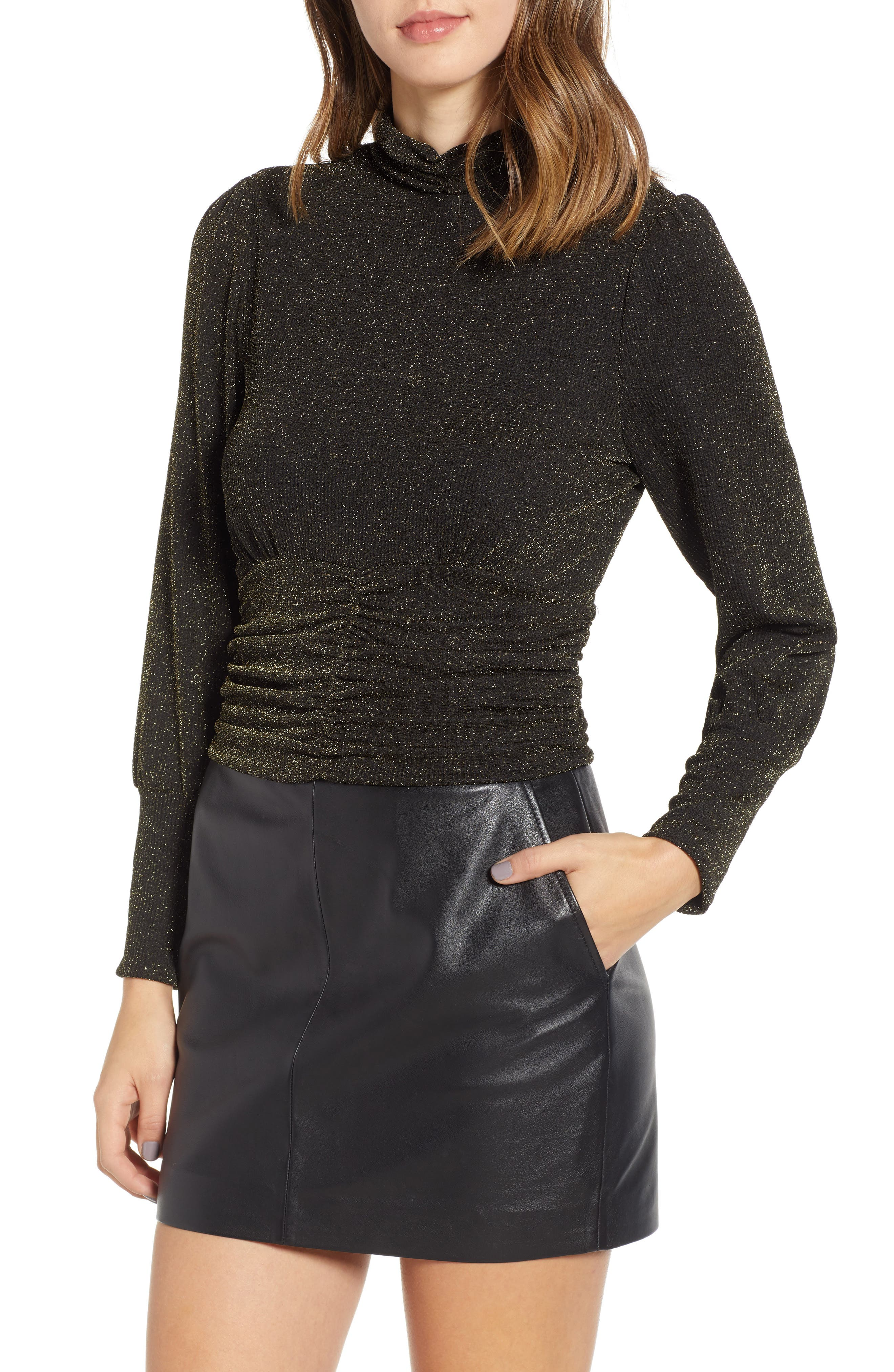 J.O.A. Gold Glitter Mock Neck Top, Main, color, 001