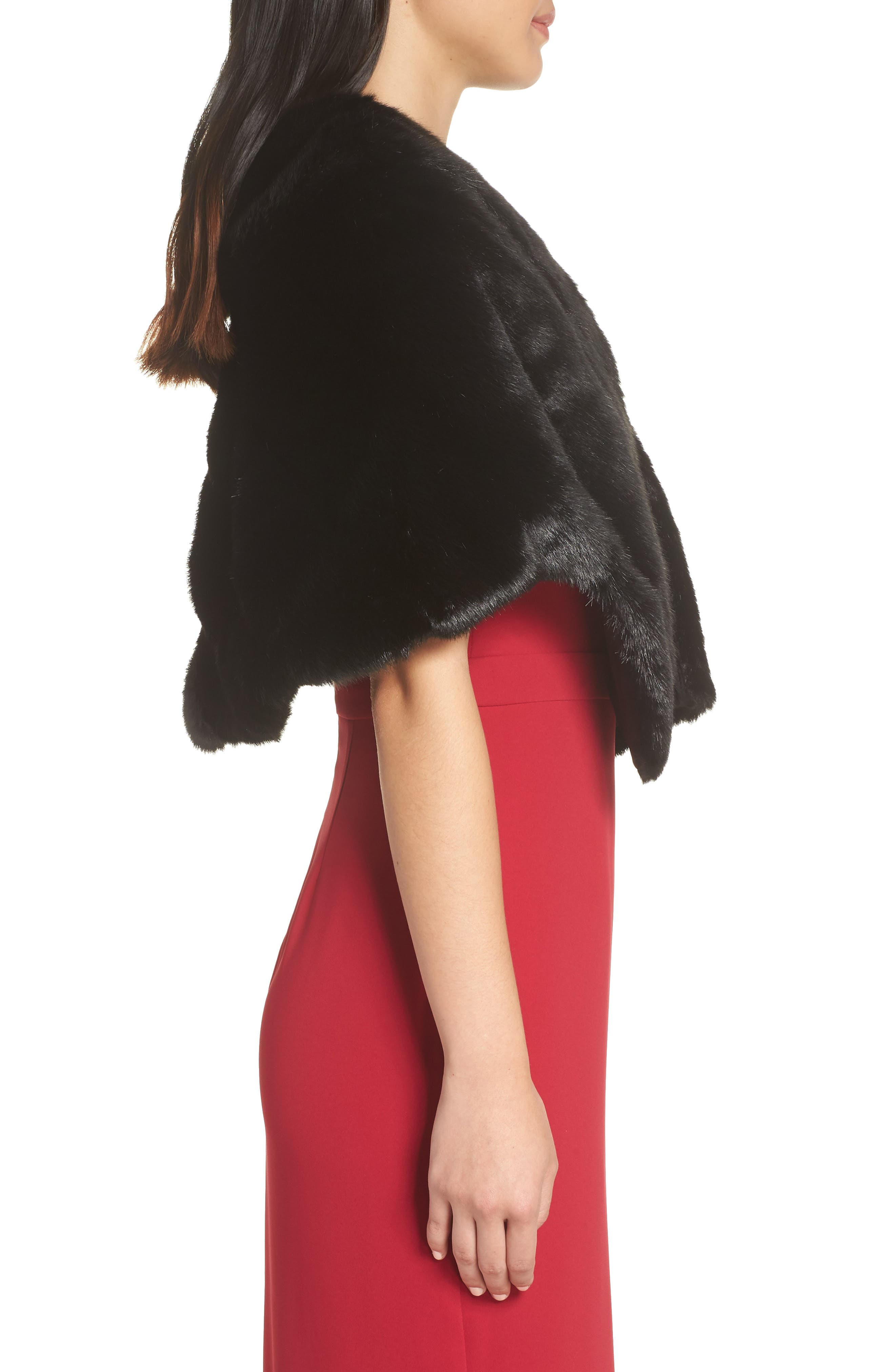 Faux Fur Capelet,                             Alternate thumbnail 3, color,                             BLACK