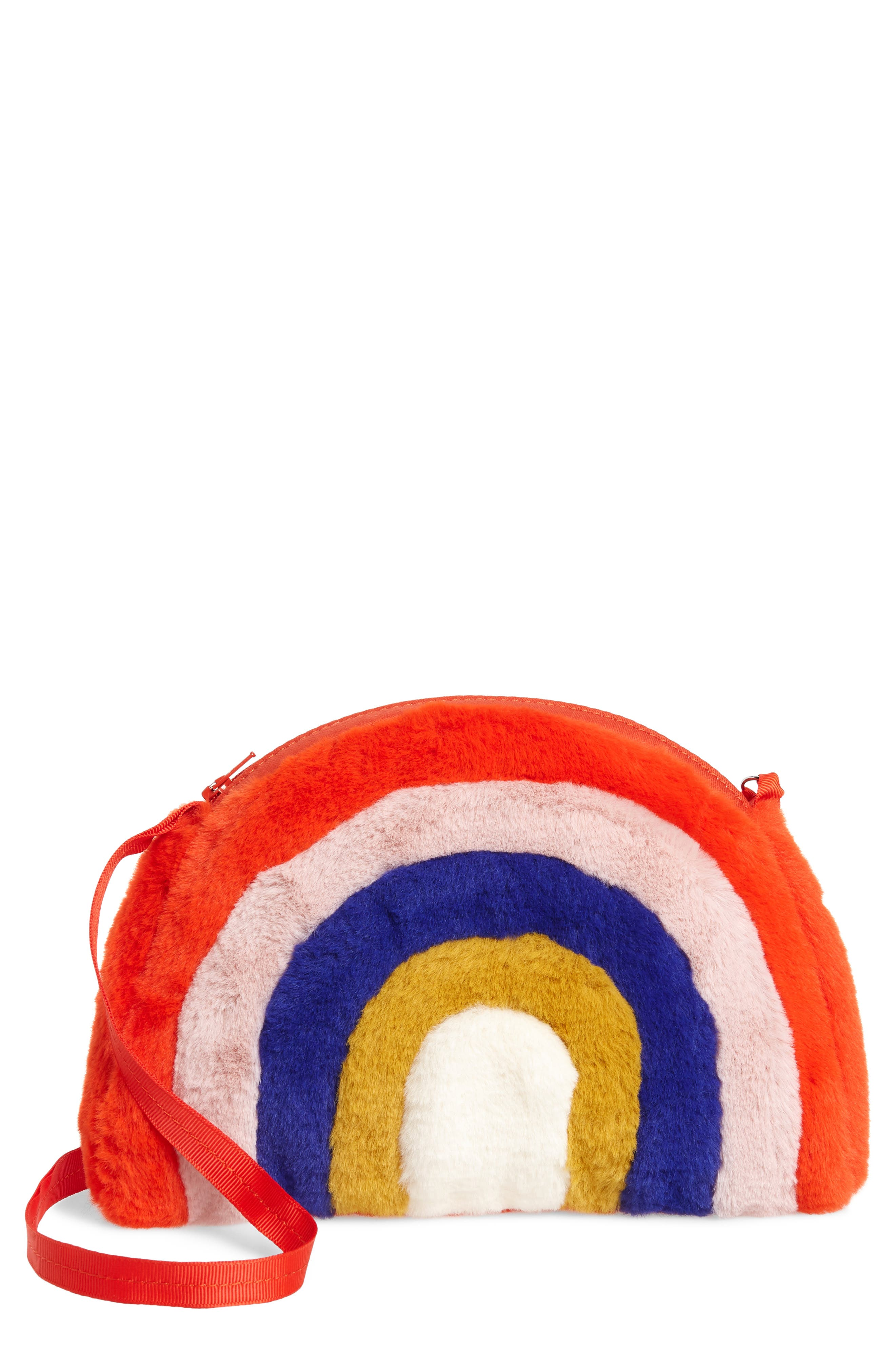 Girls Mini Boden Rainbow Faux Fur Crossbody Bag  Red