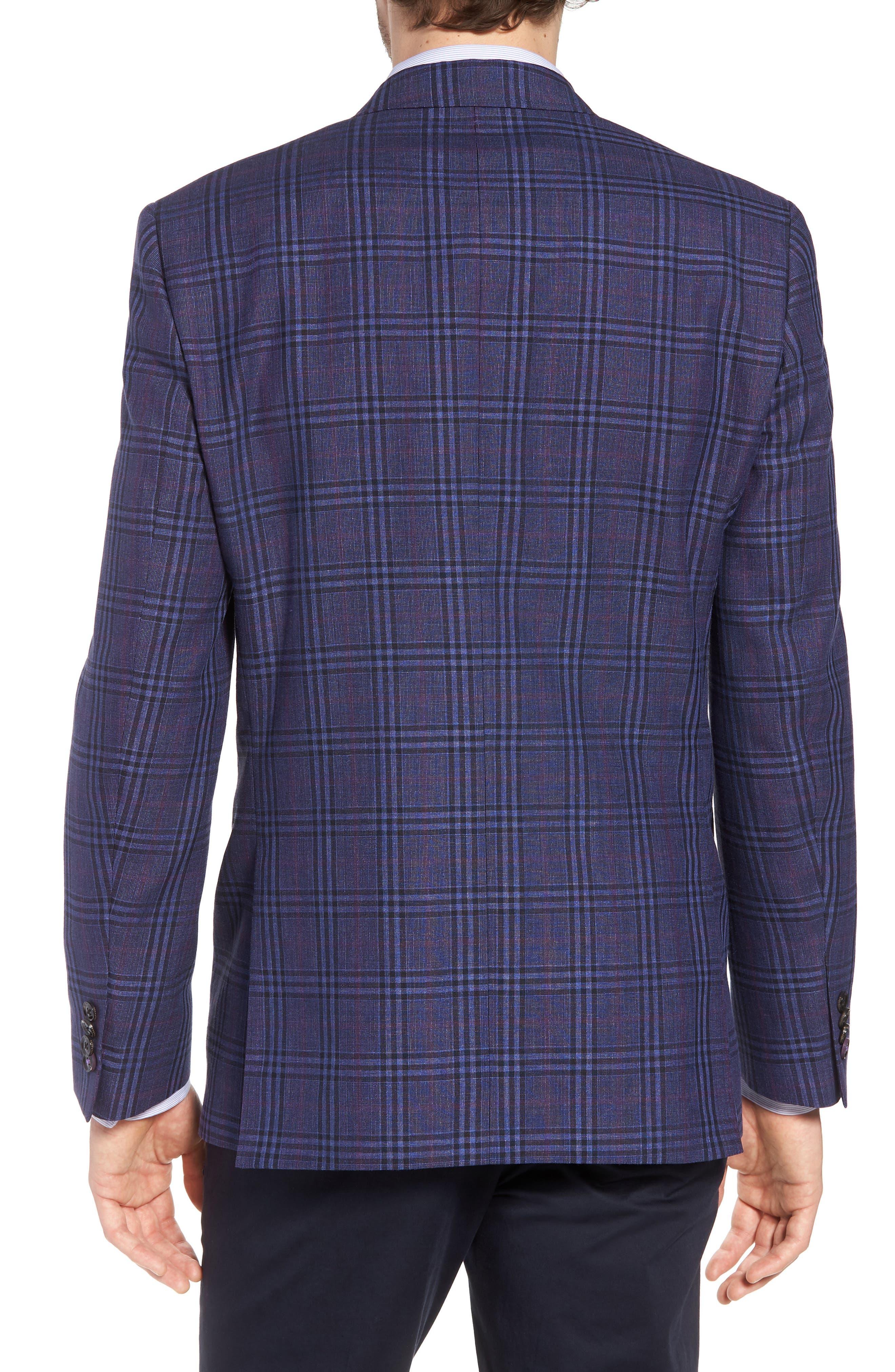 Jay Trim Fit Plaid Wool & Linen Sport Coat,                             Alternate thumbnail 2, color,                             400