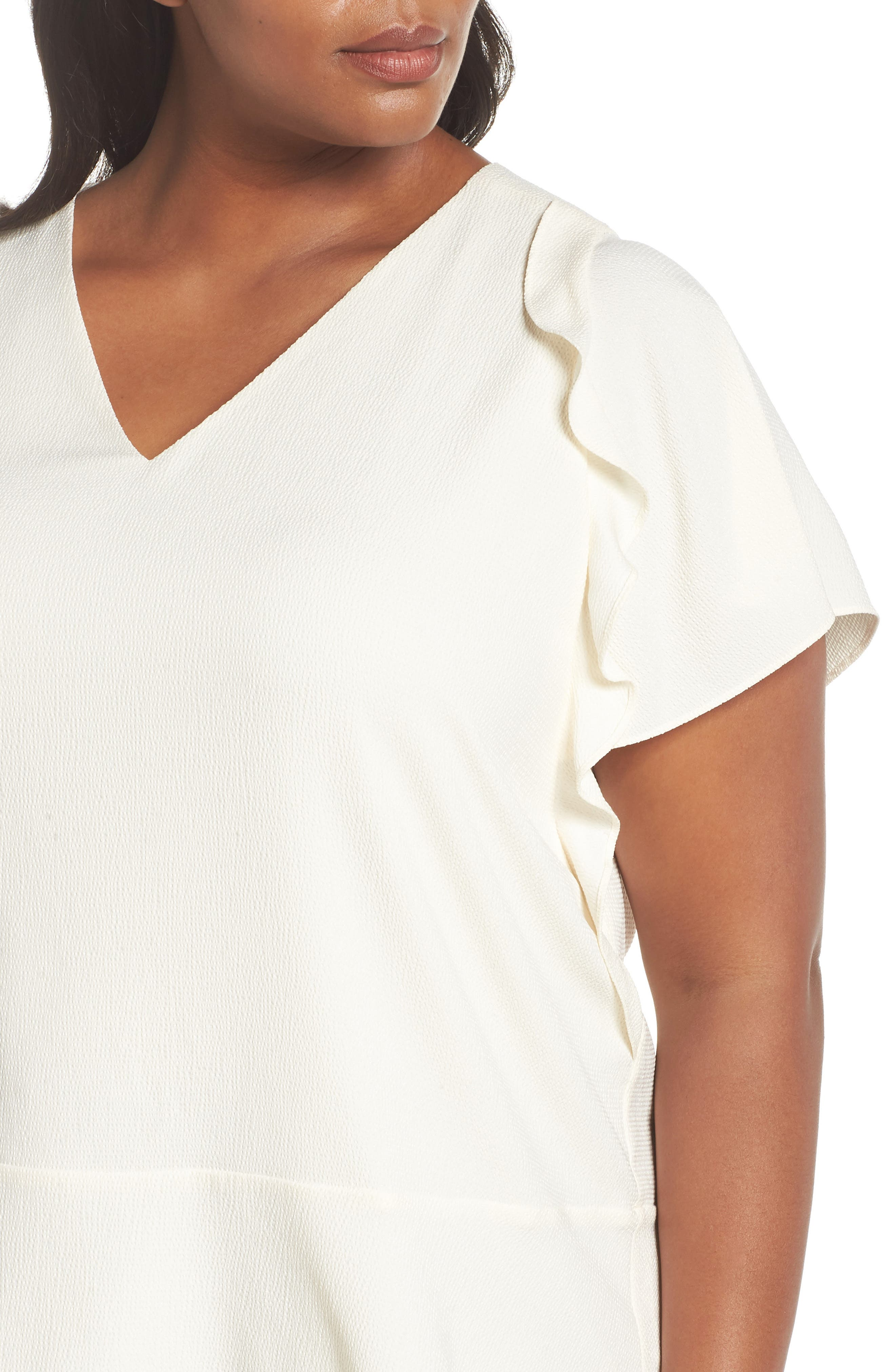 Double Ruffle Hammered Satin Top,                             Alternate thumbnail 4, color,                             110
