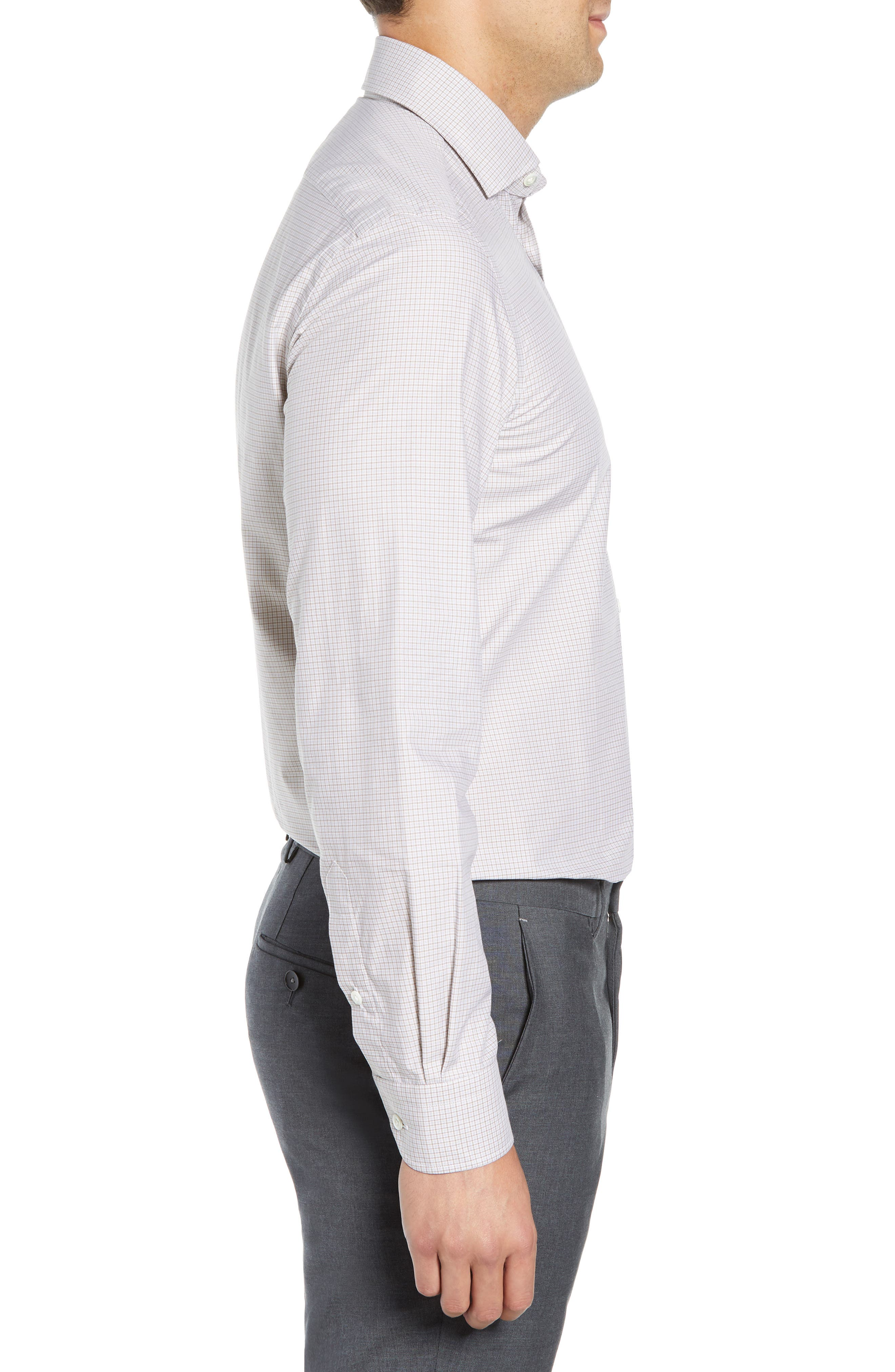 Slim Fit Check Dress Shirt,                             Alternate thumbnail 4, color,                             TAN