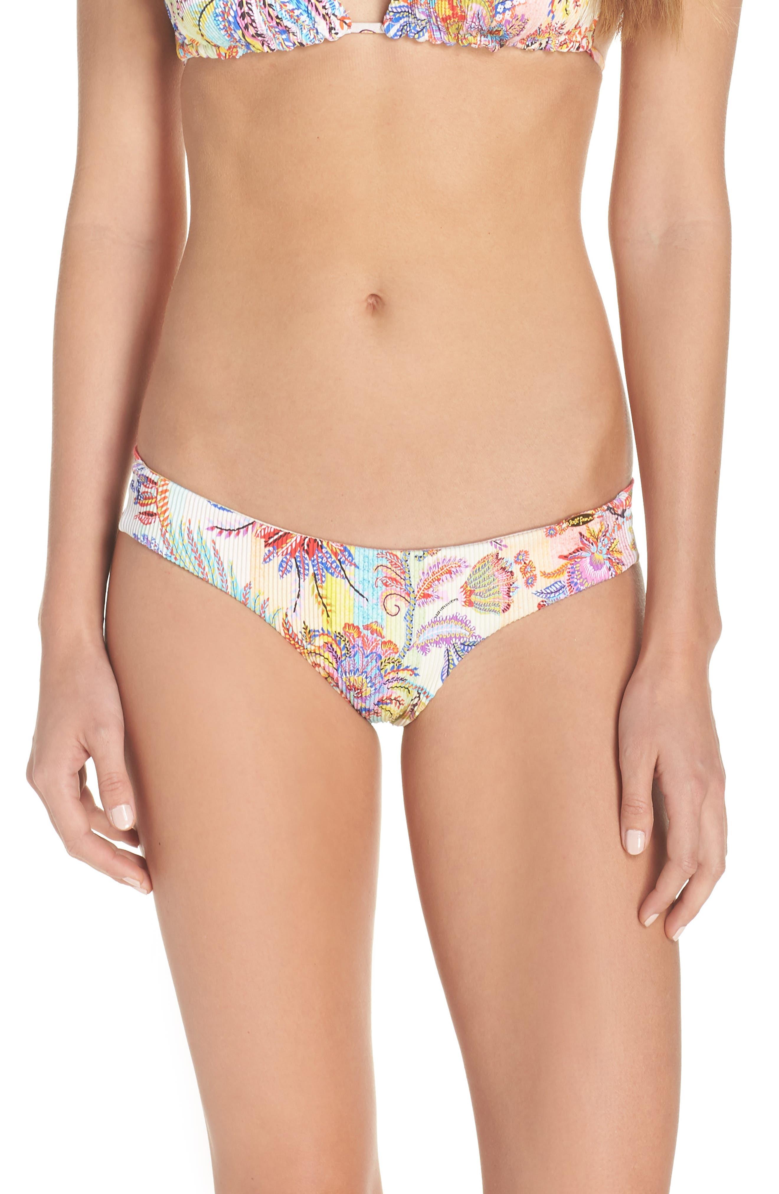 LULI FAMA Reversible Ribbed Bikini Bottom in Yellow Multi