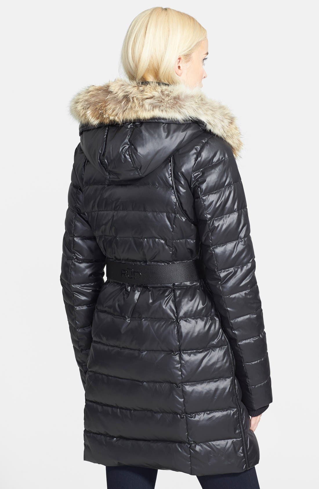 'Joannie' Belted Puffer Coat with Genuine Coyote Fur Trimmed Hood,                             Alternate thumbnail 3, color,                             001